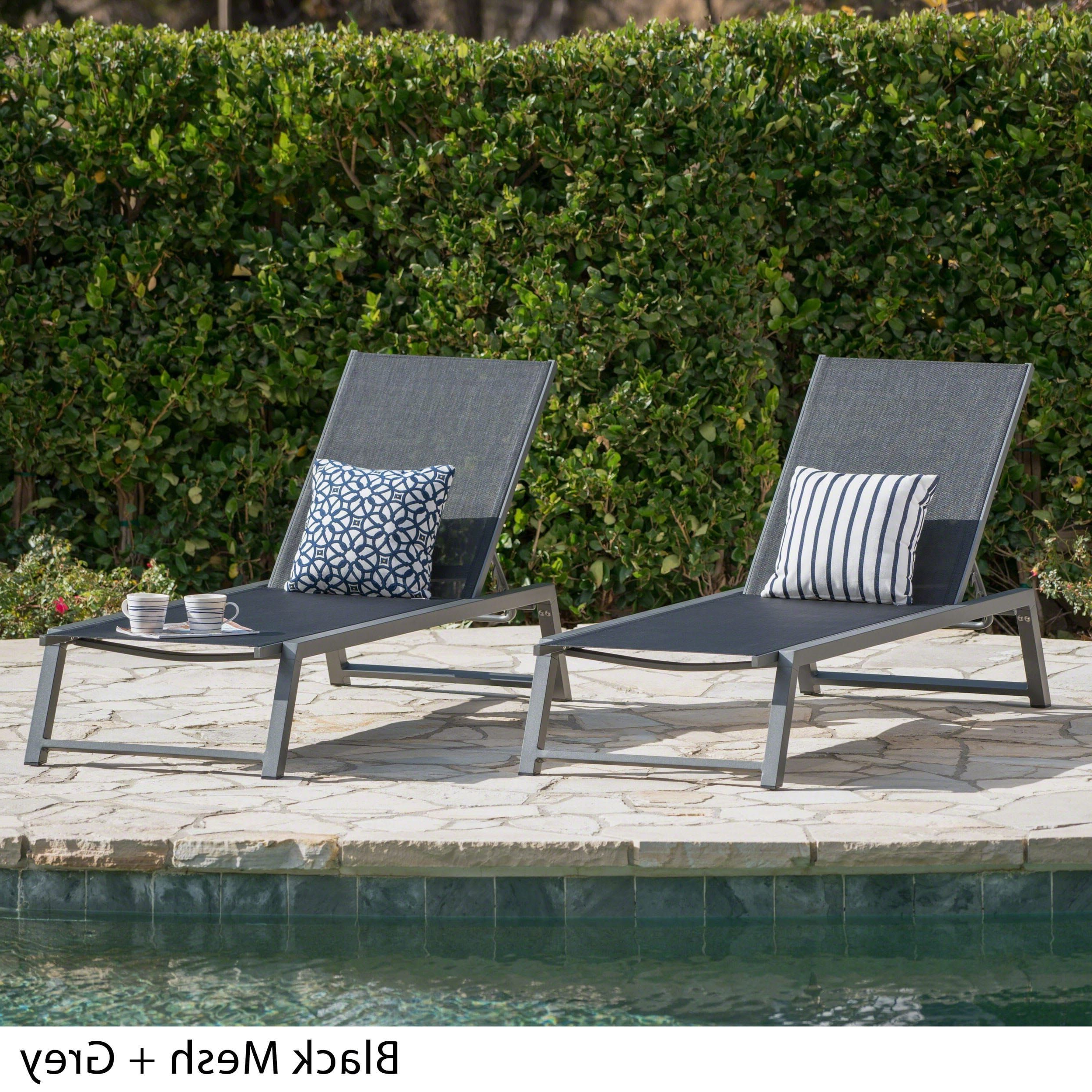 Myers Outdoor Aluminum Mesh Chaise Lounges Throughout Best And Newest Myers Outdoor Aluminum Mesh Chaise Lounge (Set Of 2) (View 3 of 25)