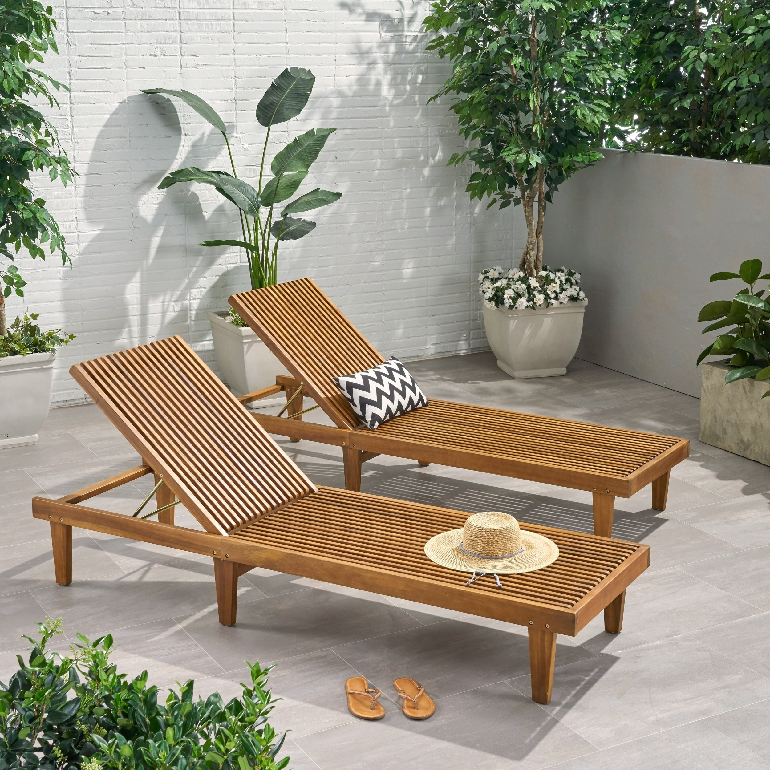 Nadine Outdoor Adjustable Wood Chaise Lounge (set Of 2)christopher Knight Home For Famous Havenside Home Ormond Outdoor Hardwood Sun Loungers With Tray (View 9 of 25)