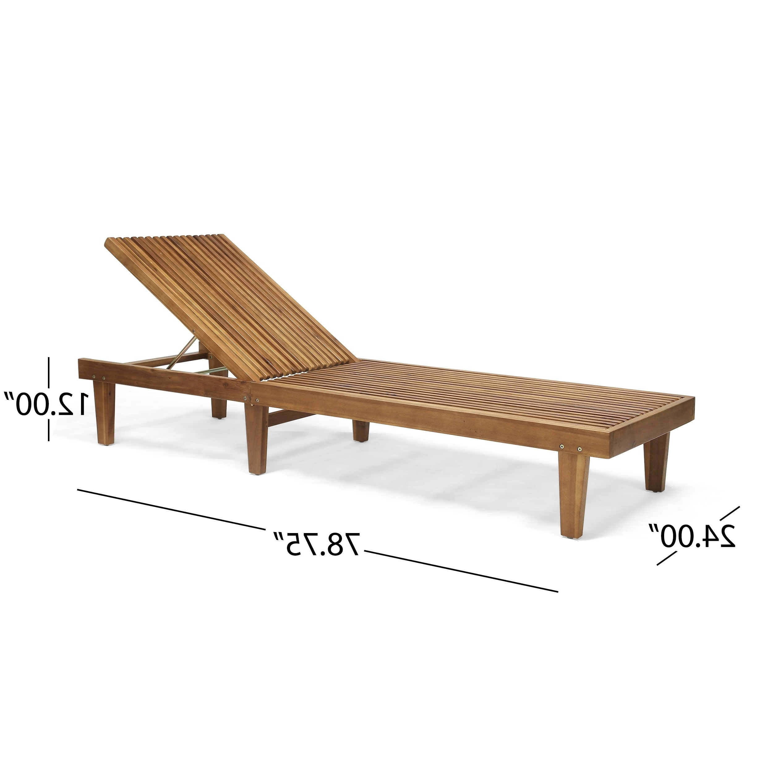 Nadine Outdoor Adjustable Wood Chaise Lounge (set Of 2)christopher Knight Home Pertaining To Favorite Havenside Home Ormond Outdoor Hardwood Sun Loungers With Tray (View 11 of 25)