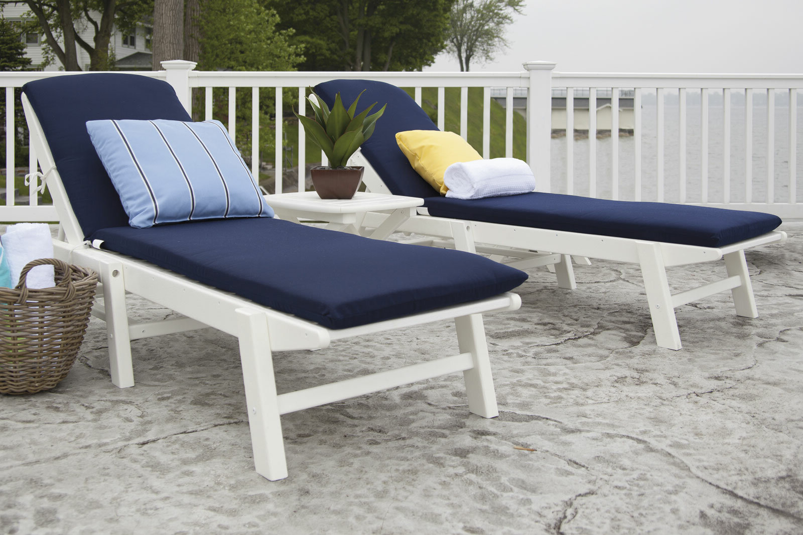 Nautical 3 Piece Chaise Set With Cushions Pertaining To Recent Nautical 3 Piece Outdoor Chaise Lounge Sets With Table (View 8 of 25)