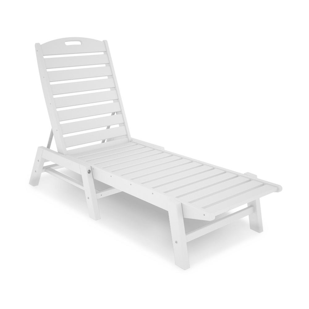 Nautical 3 Piece Outdoor Chaise Lounge Sets With Table For Latest Polywood Patio Chaise Lounge In Nautical White (View 21 of 25)
