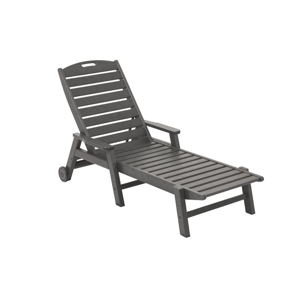 Nautical 3 Piece Outdoor Chaise Lounge Sets With Table Within Well Known Polywood Nautical Slate Grey Wheeled Plastic Outdoor Patio Chaise Lounge (View 10 of 25)
