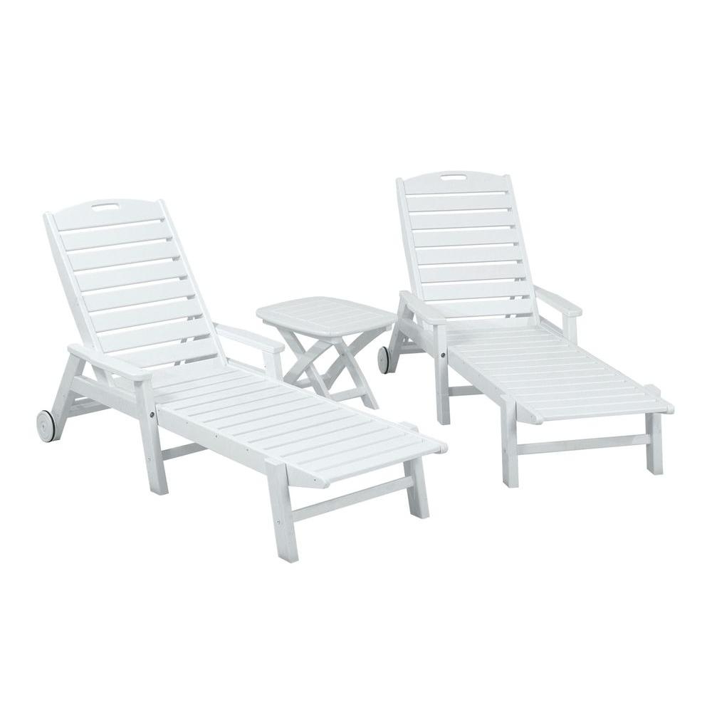 Nautical 3 Piece Outdoor Chaise Lounge Sets With Wheels And Table Inside Well Liked Polywood Nautical White 3 Piece Plastic Outdoor Patio Chaise Set (View 14 of 25)