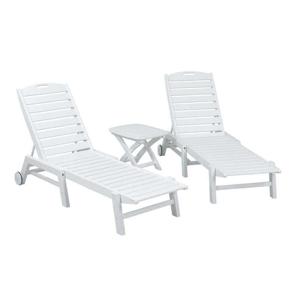 Nautical 3 Piece Outdoor Chaise Lounge Sets With Wheels And Table Regarding Best And Newest Polywood Nautical White 3 Piece Patio Chaise Set (View 8 of 25)