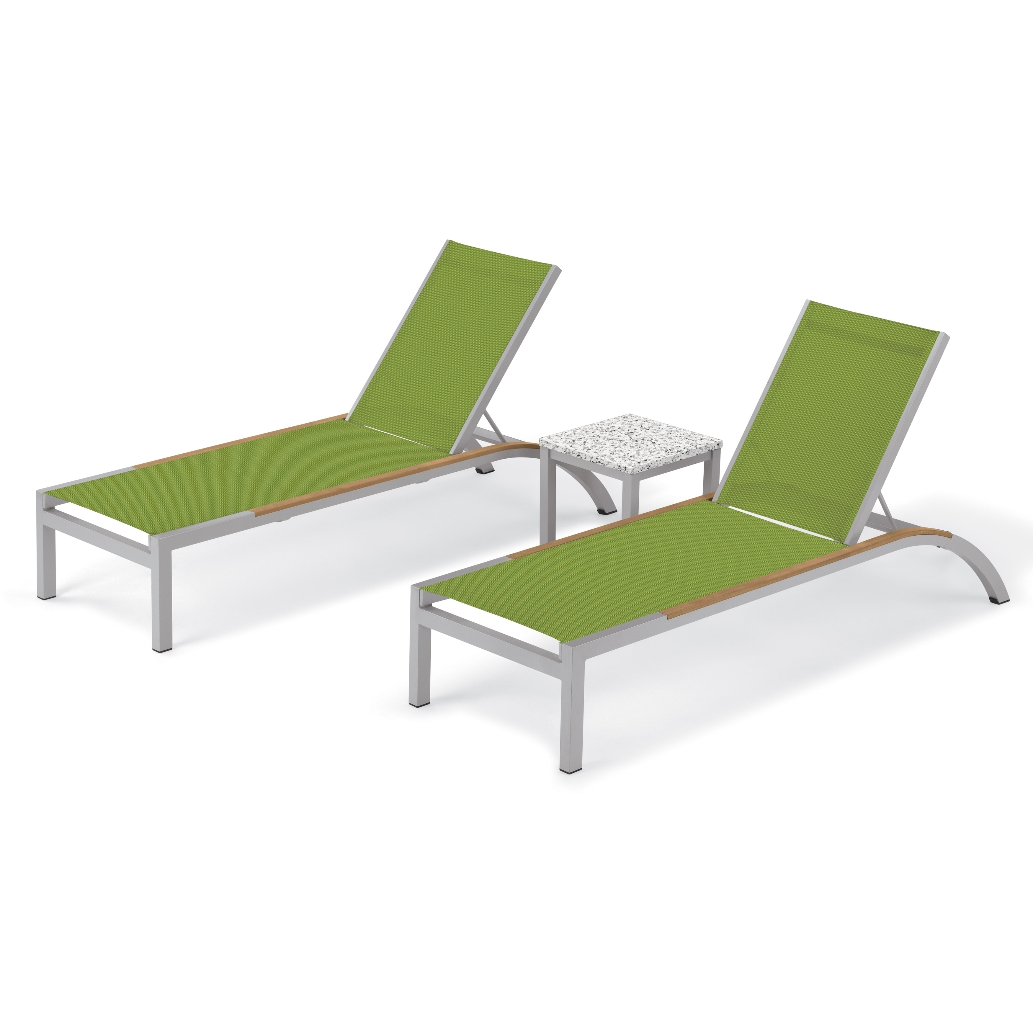 Nautical 3 Piece Outdoor Chaise Lounge Sets With Wheels And Table With Favorite Oxford Garden Argento 3 Piece Tekwood Natural Side Rails (View 17 of 25)