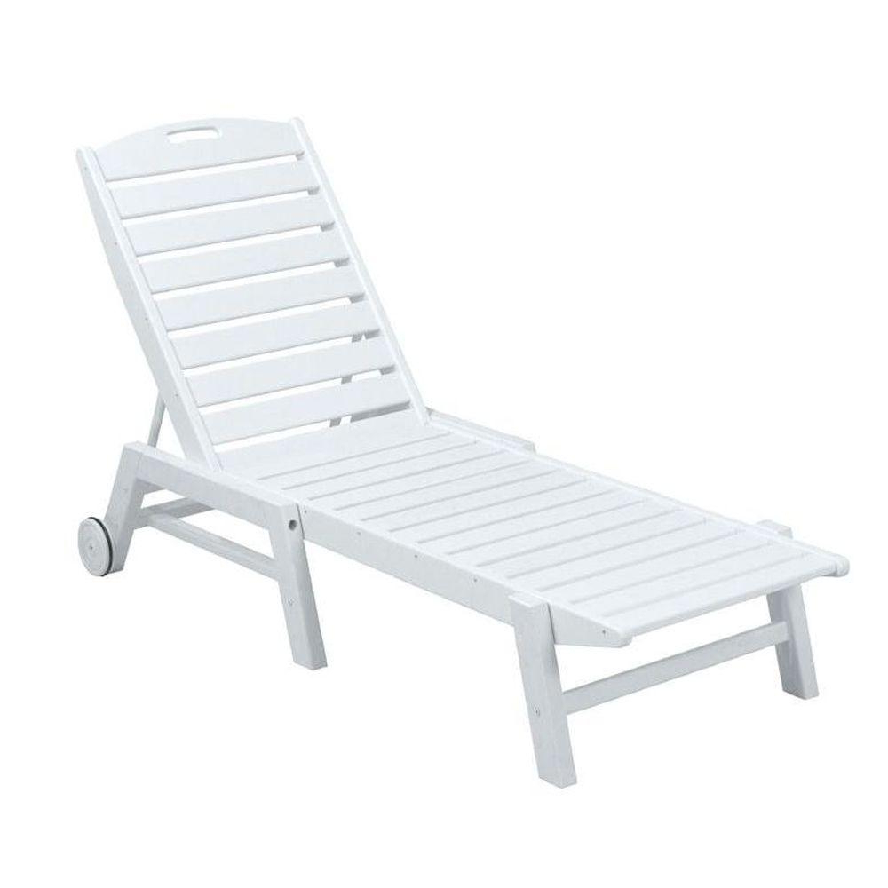 Nautical Outdoor Chaise Lounges With Arms Intended For Favorite Polywood Nautical White Wheeled Armless Plastic Outdoor Patio Chaise Lounge (View 4 of 25)