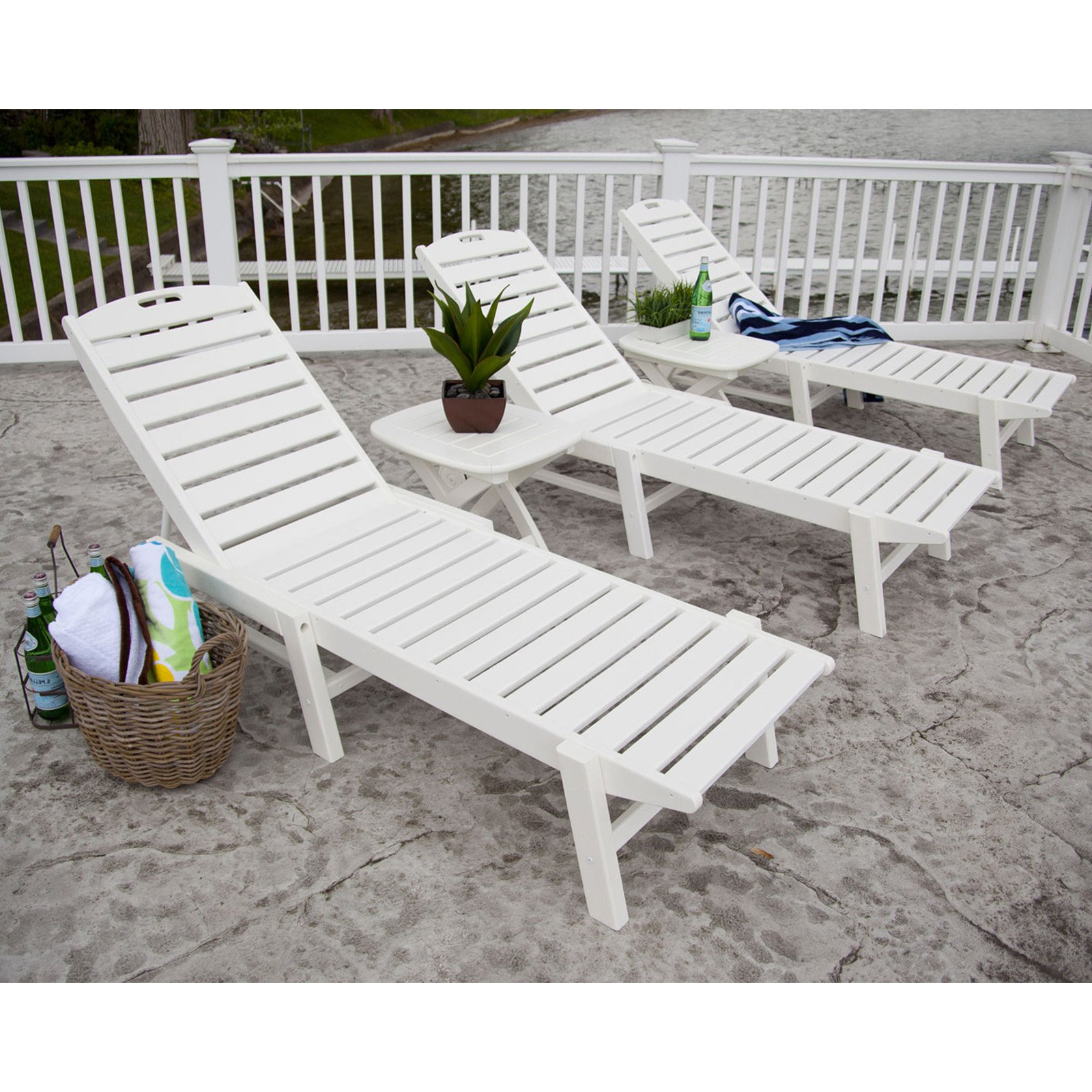 Nautical Wheeled Stackable Chaise Lounges Within 2019 Polywood® Nautical Stackable Wheeled Chaise – Walmart (View 5 of 25)
