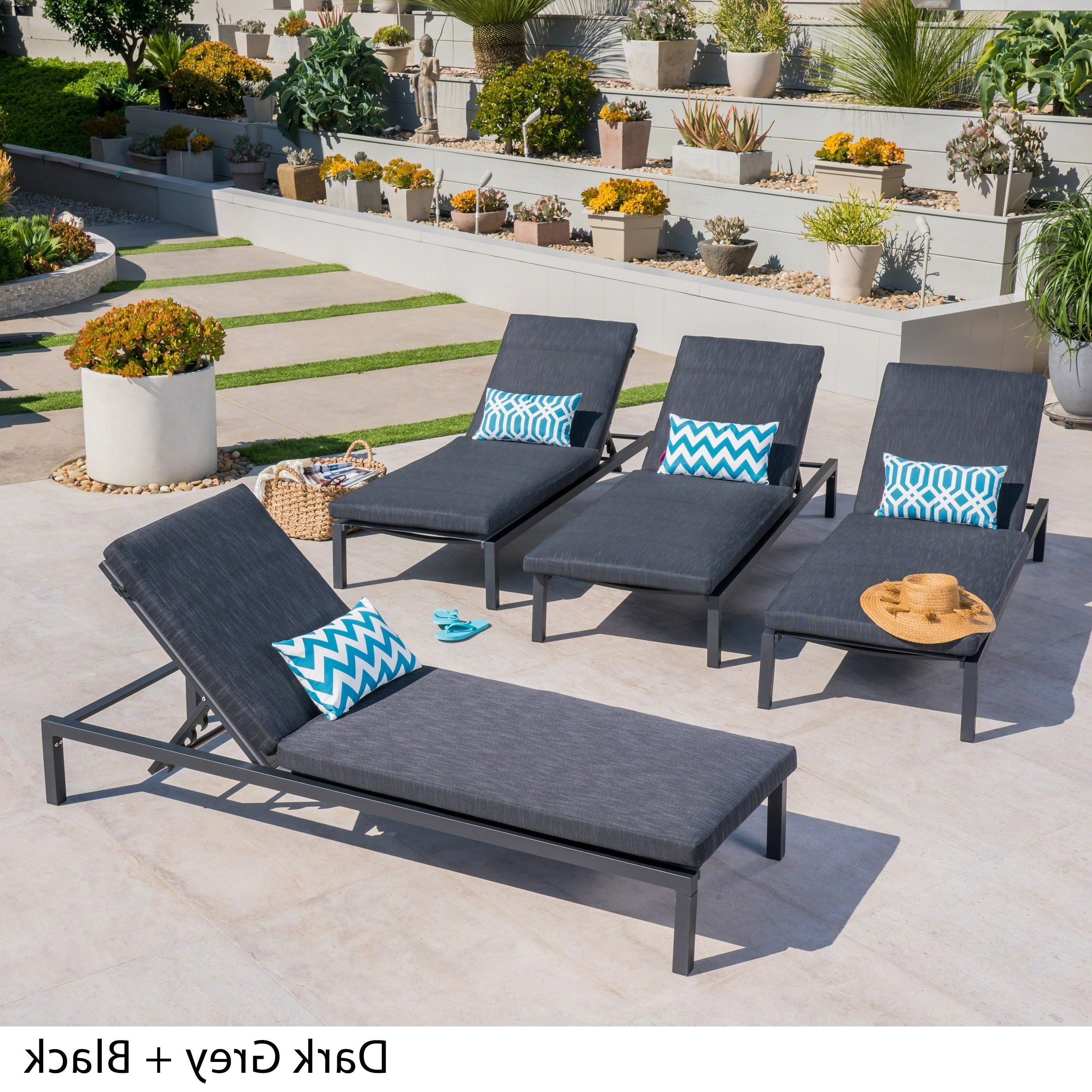 Navan Outdoor Aluminum Chaise Lounge With Cushion (set Of 4)christopher Knight Home For Newest Navan Outdoor Aluminum Chaise Lounges With Cushion (View 4 of 25)