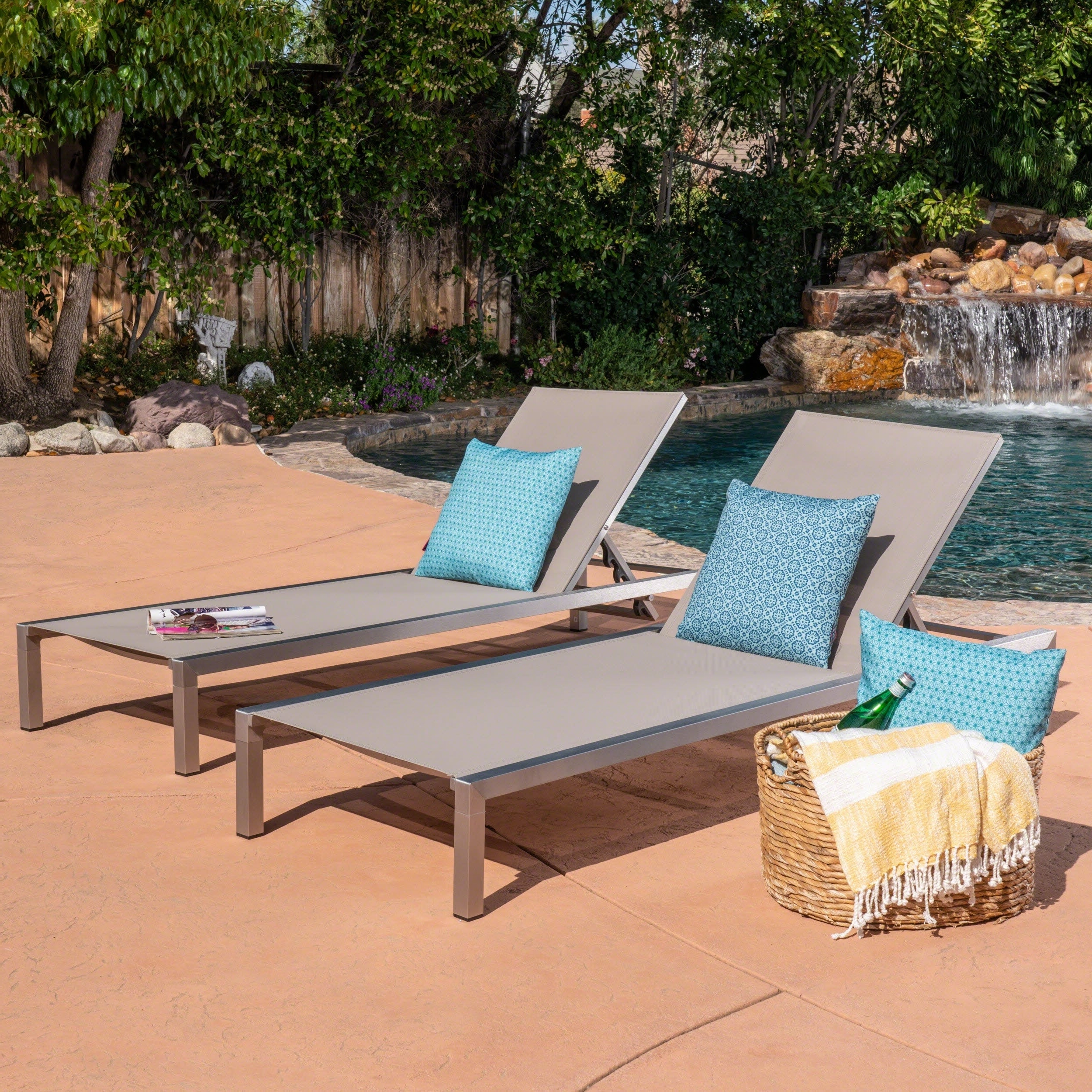 Navan Outdoor Aluminum Chaise Lounges With Cushion Throughout Fashionable Navan Outdoor Chaise Lounge (set Of 2)christopher Knight Home (View 8 of 25)