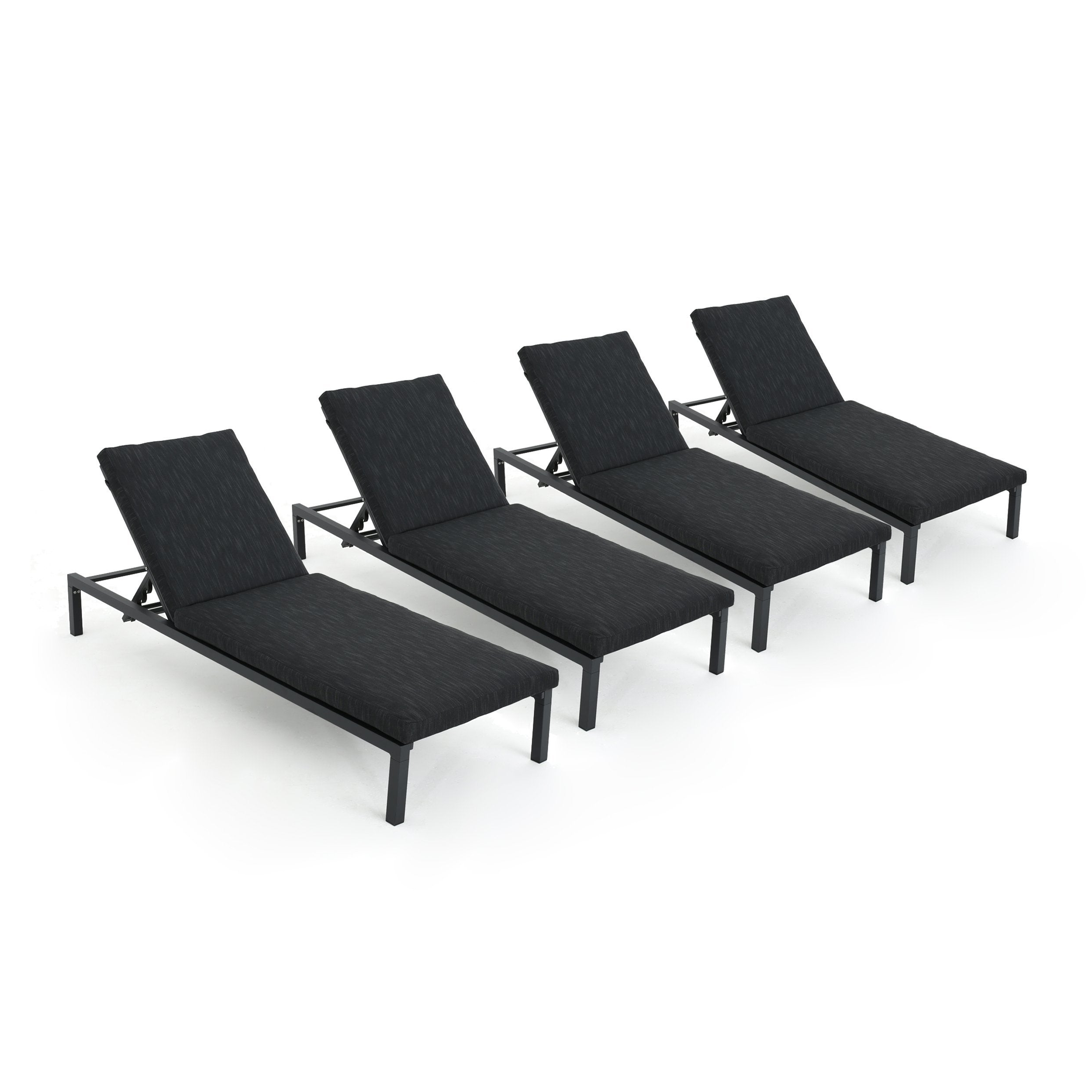 Navan Outdoor Aluminum Chaise Lounges With Cushion Within Fashionable Navan Outdoor Aluminum Chaise Lounge With Cushion (set Of 4)christopher Knight Home (View 2 of 25)