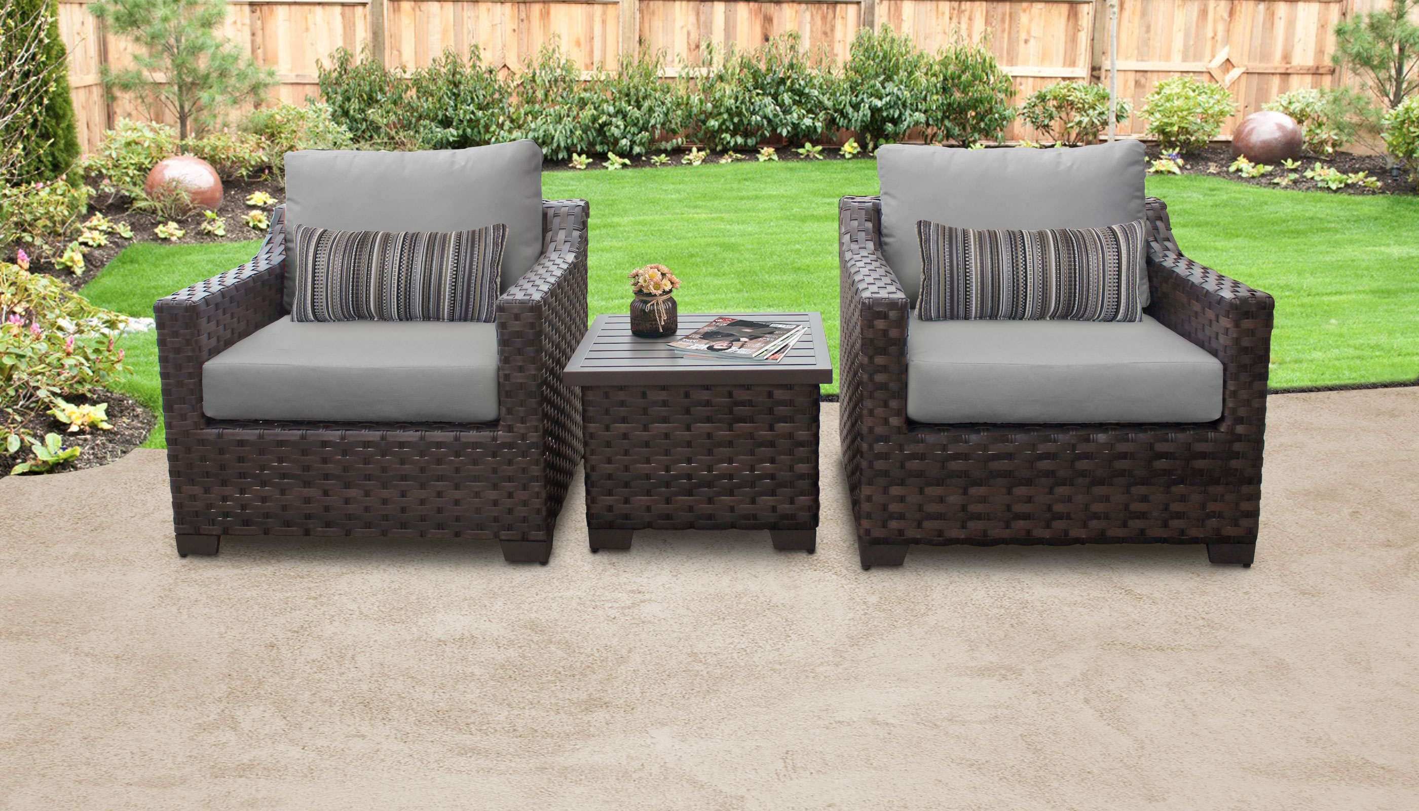 Newest 3 Piece Patio Lounger Sets Pertaining To River 3 Piece Outdoor Wicker Patio Furniture Set 03A (View 16 of 25)