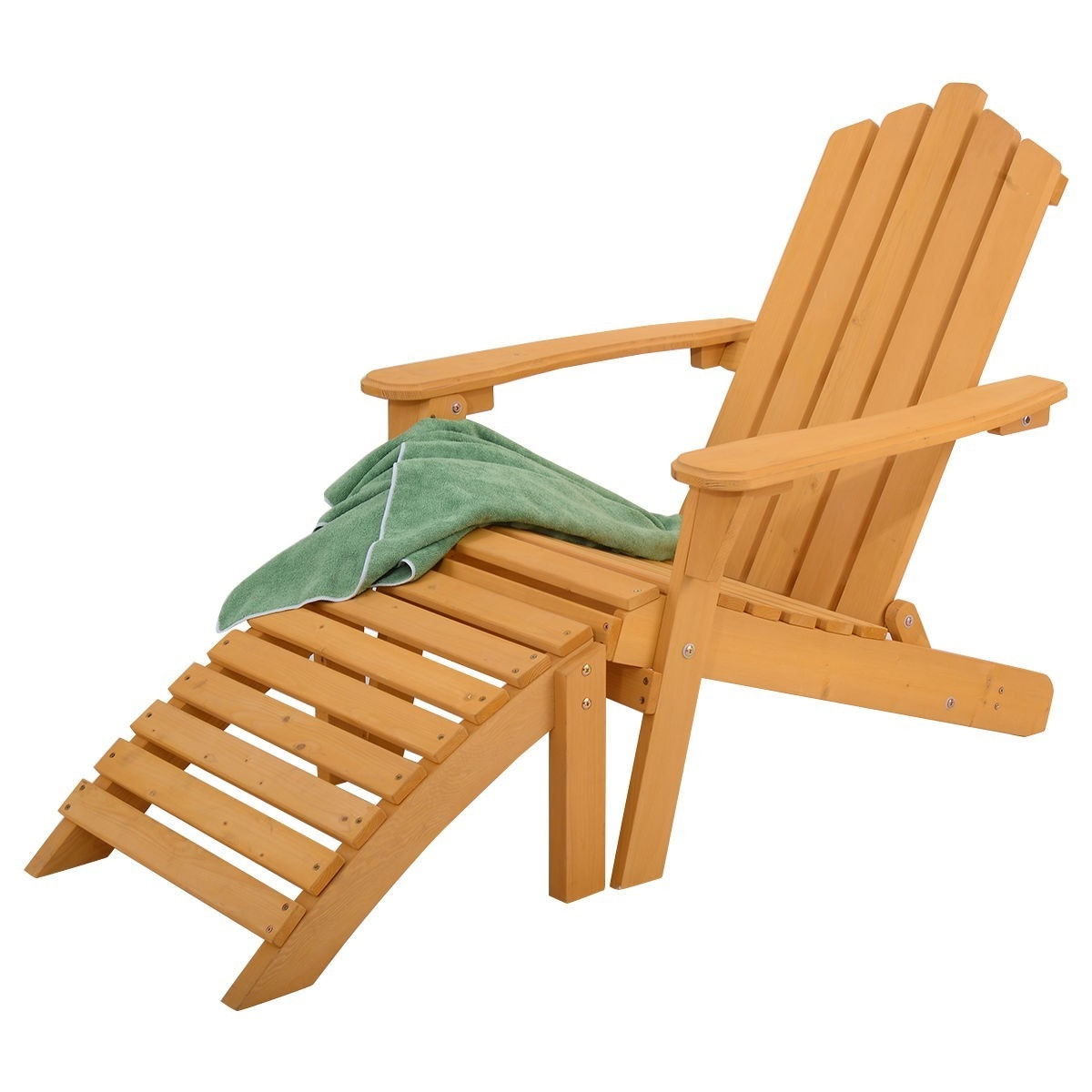 Newest Adirondack Chairs With Footrest Throughout Folding Wooden Adirondack Chair With Foot Rest Ottoman (View 18 of 25)