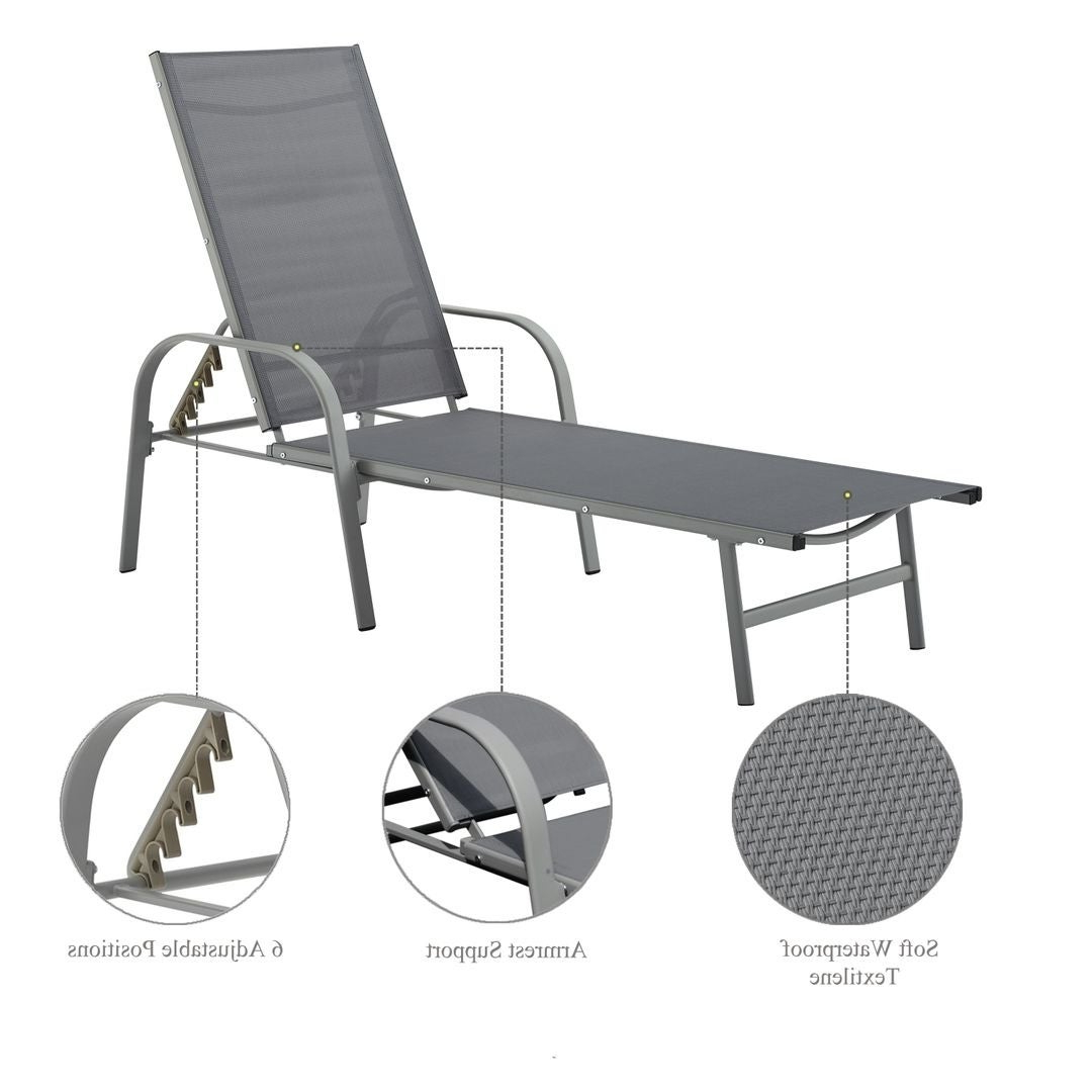 Newest Black Sling Fabric Adjustable Chaise Lounges In Corvus Antonio Outdoor Black Sling Fabric Adjustable Chaise Lounge (View 4 of 25)
