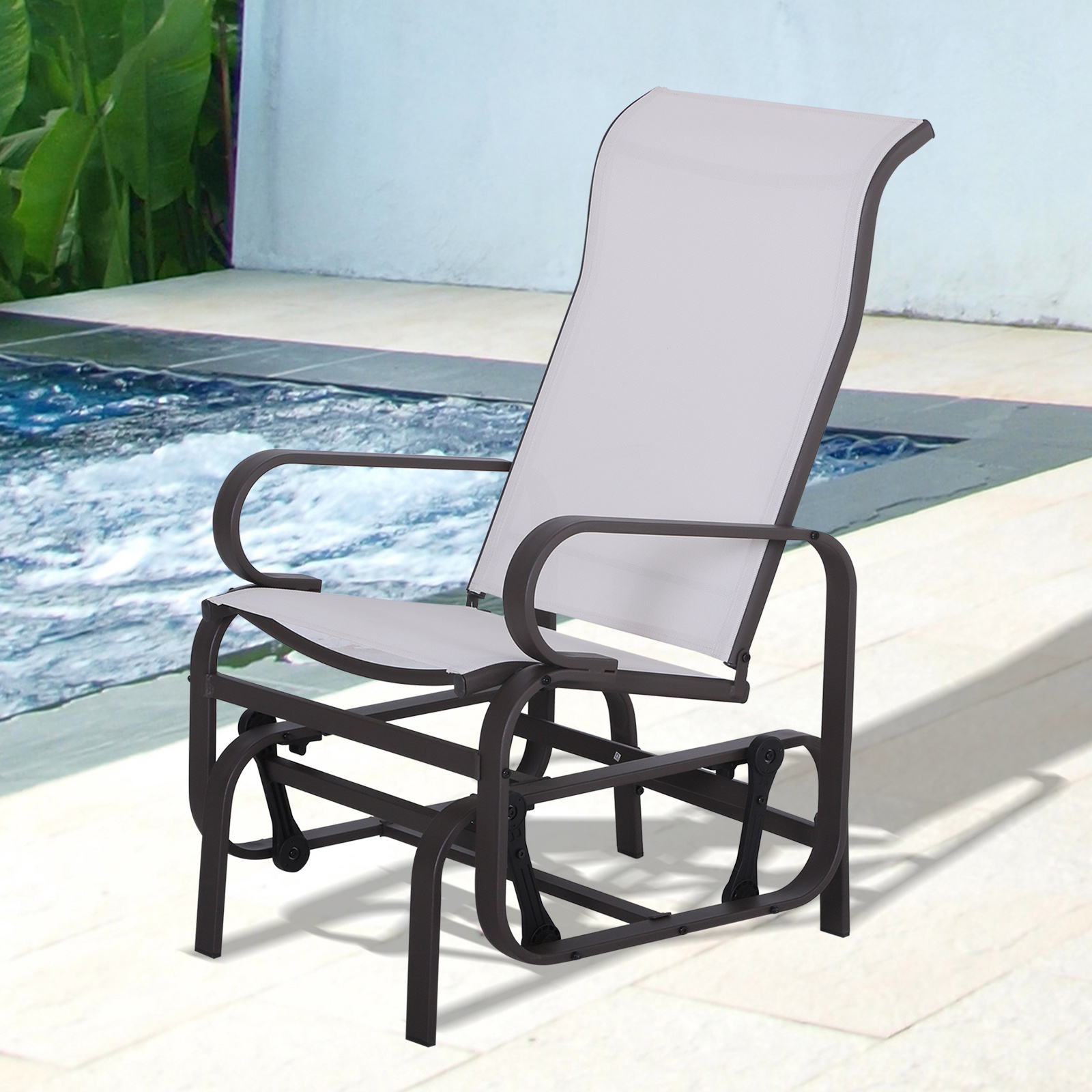 Newest Details About Outsunny Patio Sling Fabric Glider Swing Chair Seat Lounger Porch Rocker Outdoor With Regard To Mesh Fabric With Steel Frame Chairs With Canopy And Tray (View 22 of 25)