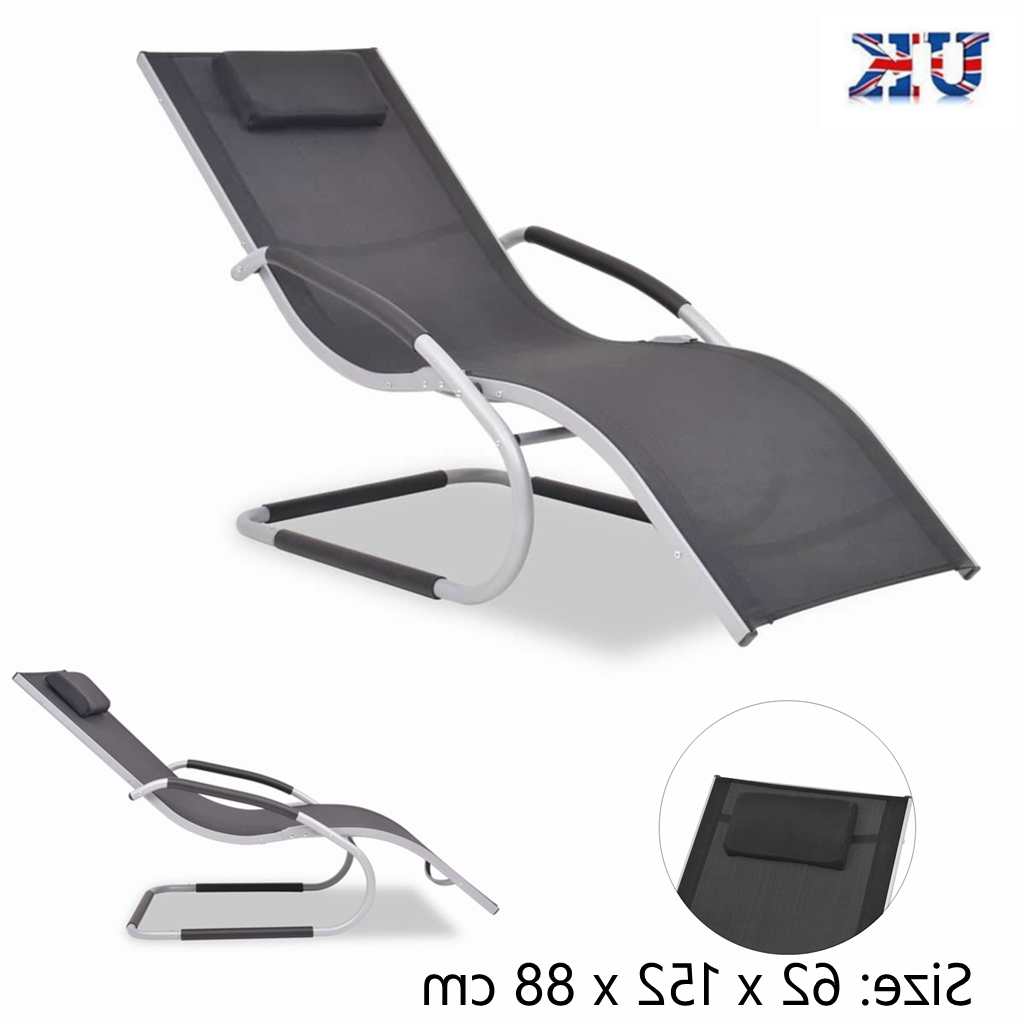 Newest Details About Reclining Sun Lounger Recliner Outdoor Garden Yard Patio Pool Beach Chair Seat In Portable Extendable Folding Reclining Chairs (Gallery 19 of 25)