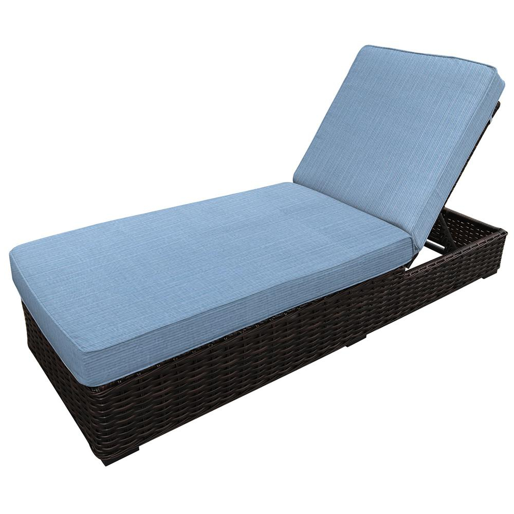 Newest Envelor Santa Monica Adjustable Wicker Outdoor Chaise Lounge With Sunbrella Air Blue Cushions Within Adjustable Outdoor Wicker Chaise Lounge Chairs With Cushion (View 15 of 25)