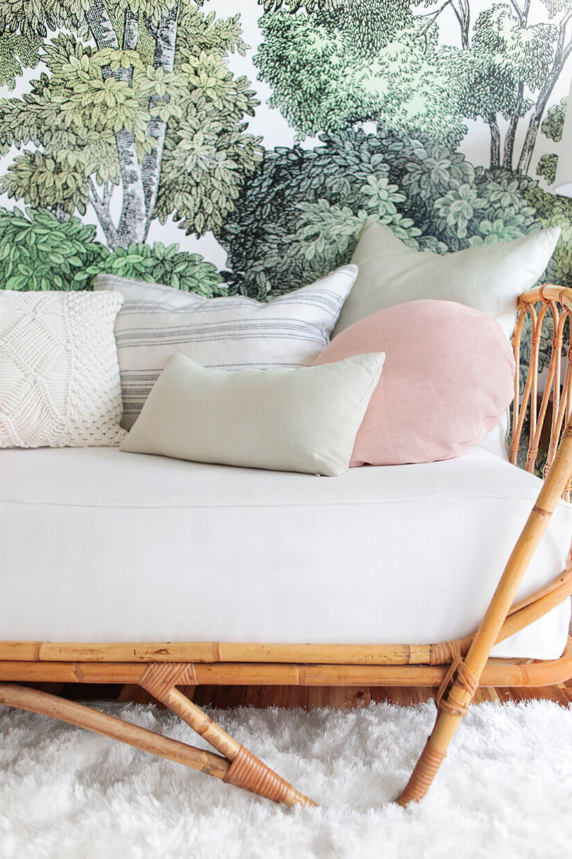 Newest How To Style A Twin Bed Like A Sofa Or Daybed + Shop The Intended For Bamboo Daybeds With Canopy (View 21 of 25)