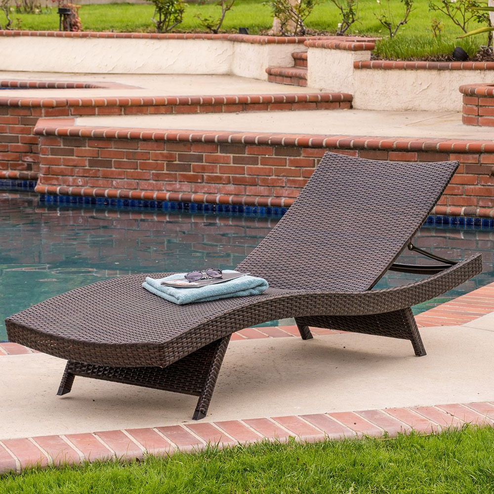 Newest Kauai Outdoor Wicker Chaise Lounges Inside Outdoor Patio Pool Adjustable Brown Wicker Chaise Lounge (View 10 of 25)