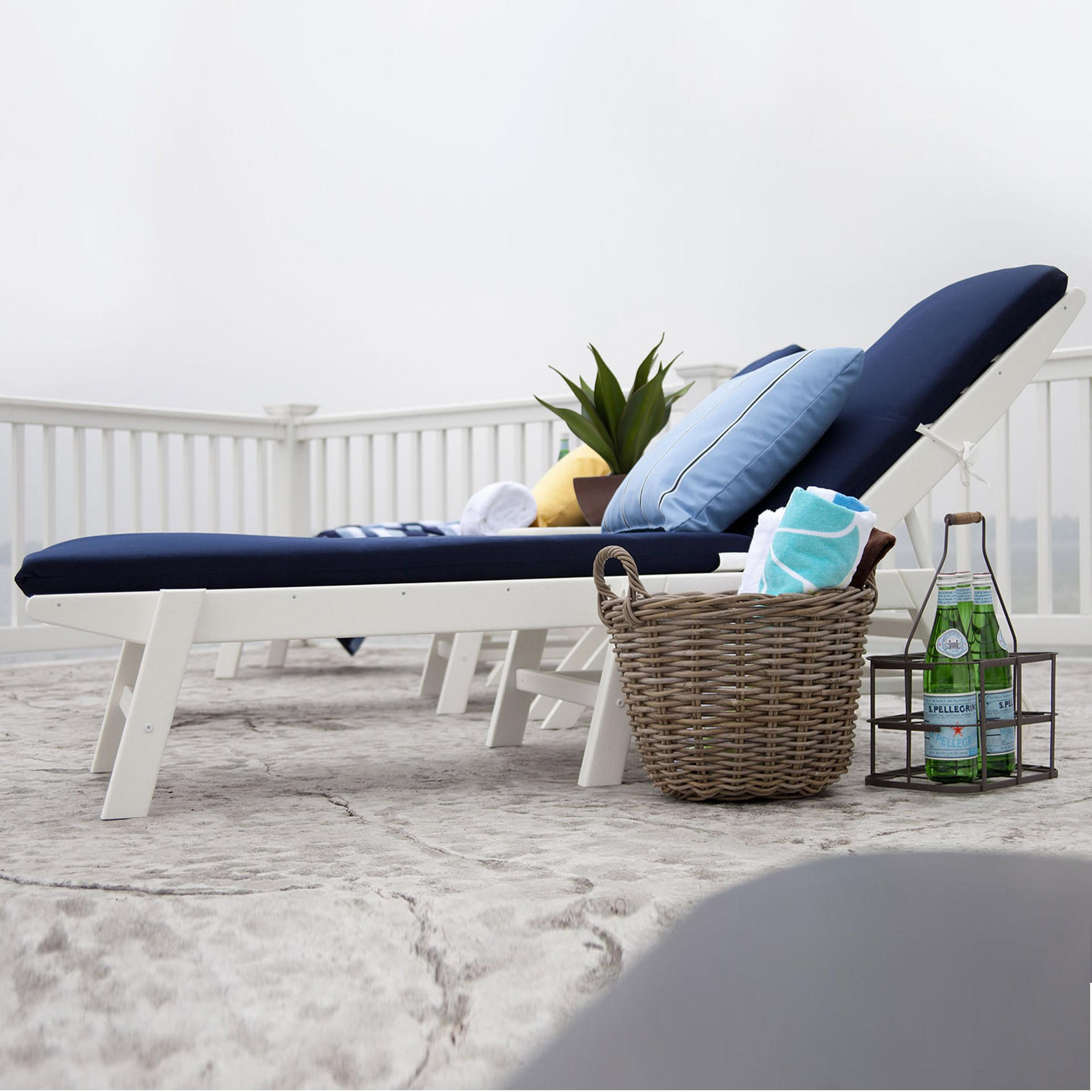 Newest Nautical Wheeled Stackable Chaise Lounges Intended For Polywood Nautical Wheeled Chaise (View 6 of 25)