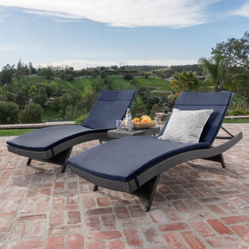 Newest Noble House Miller Grey 3 Piece Wicker Outdoor Chaise Lounge Regarding Outdoor 3 Piece Wicker Chaise Lounges And Table Sets (View 8 of 25)