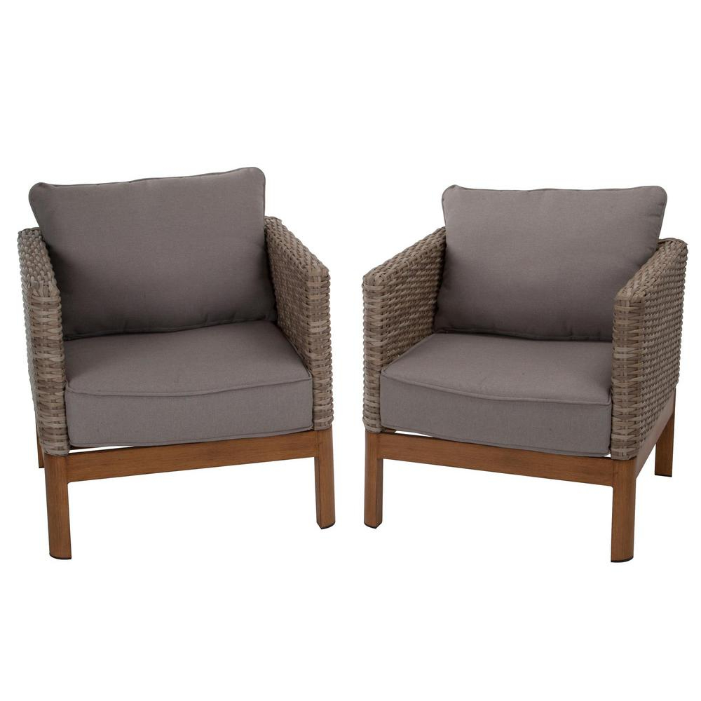 Newest Outdoor Living Manteca Dark Slate Lounge Chairs Throughout Cosco Deep Seating Tan Wicker Patio Lounge Chairs With Gray Cushion (Set 2) (View 10 of 25)