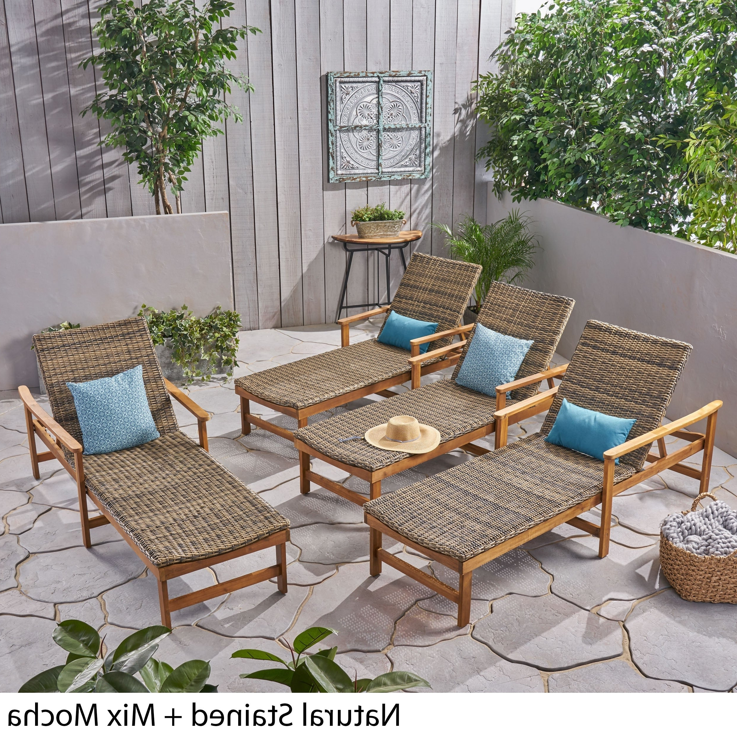 Newest Outdoor Rustic Acacia Wood Chaise Lounges With Wicker Seat Within Hampton Outdoor Acacia Wood And Wicker Chaise Lounges(Set Of 4) Christopher Knight Home (View 16 of 25)