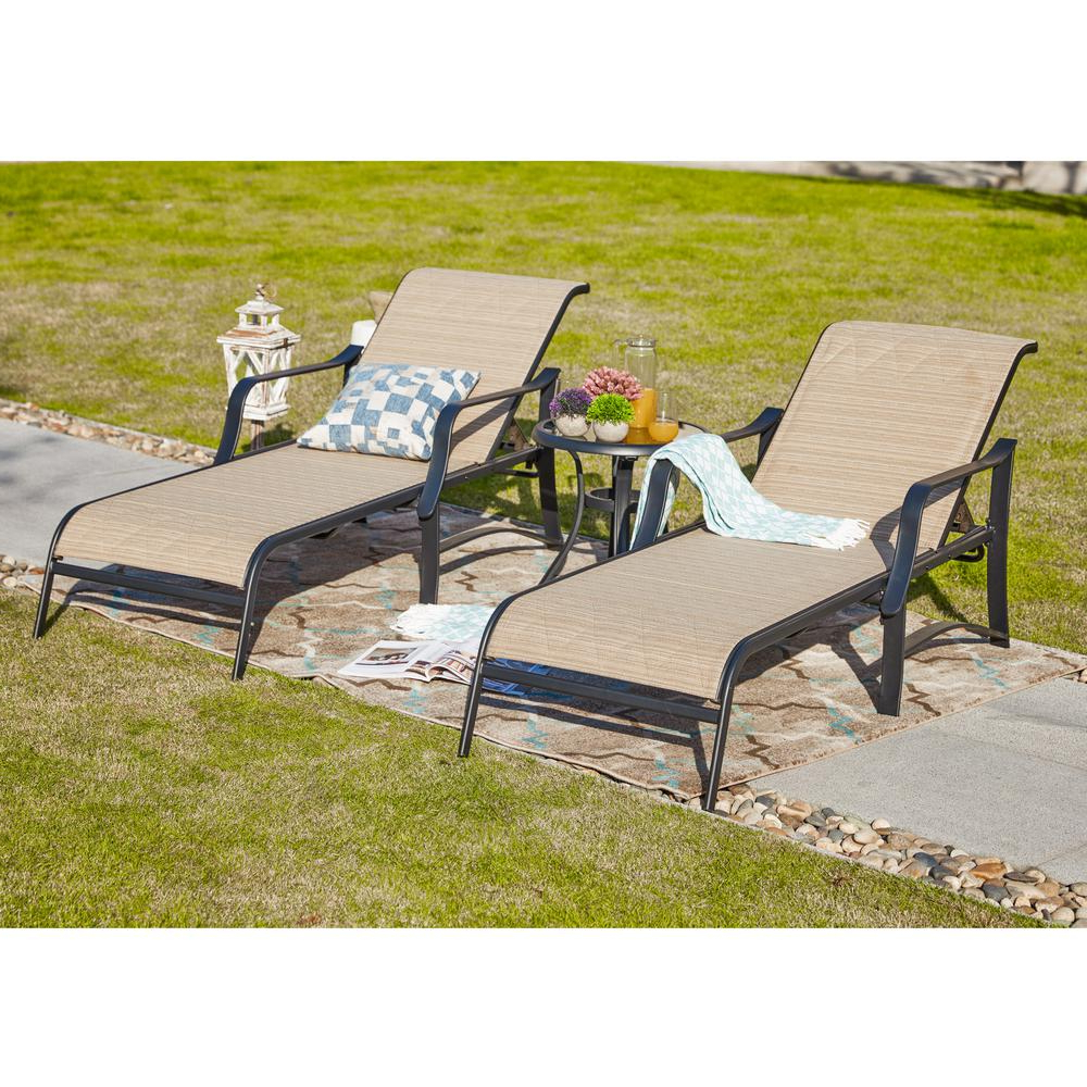 Newest Patio Festival 3 Piece Sling Outdoor Chaise Lounge In Beige In Multi Position Iron Chaise Lounges (View 15 of 25)