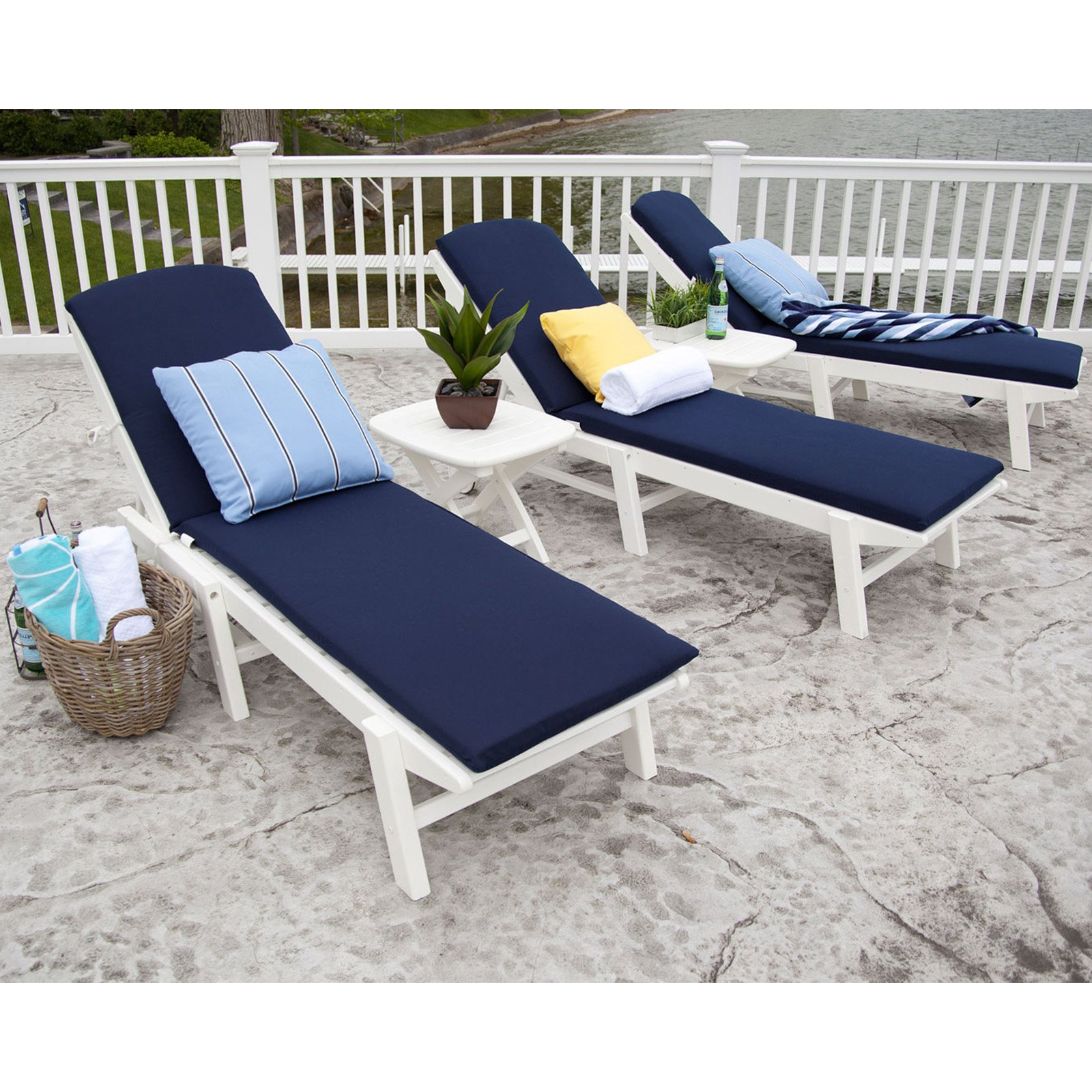 Newest Polywood® Nautical Stackable Wheeled Chaise Inside Stackable Nautical Outdoor Chaise Lounges (View 20 of 25)