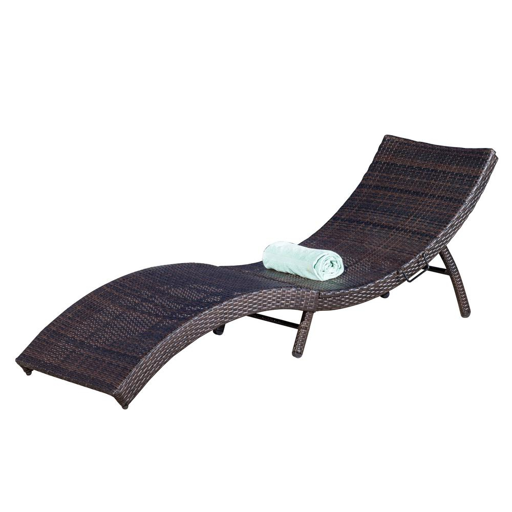 Noble House Acapulco Multi Brown 1 Piece Wicker Outdoor Chaise Lounge For Latest Curved Folding Chaise Loungers (View 16 of 25)
