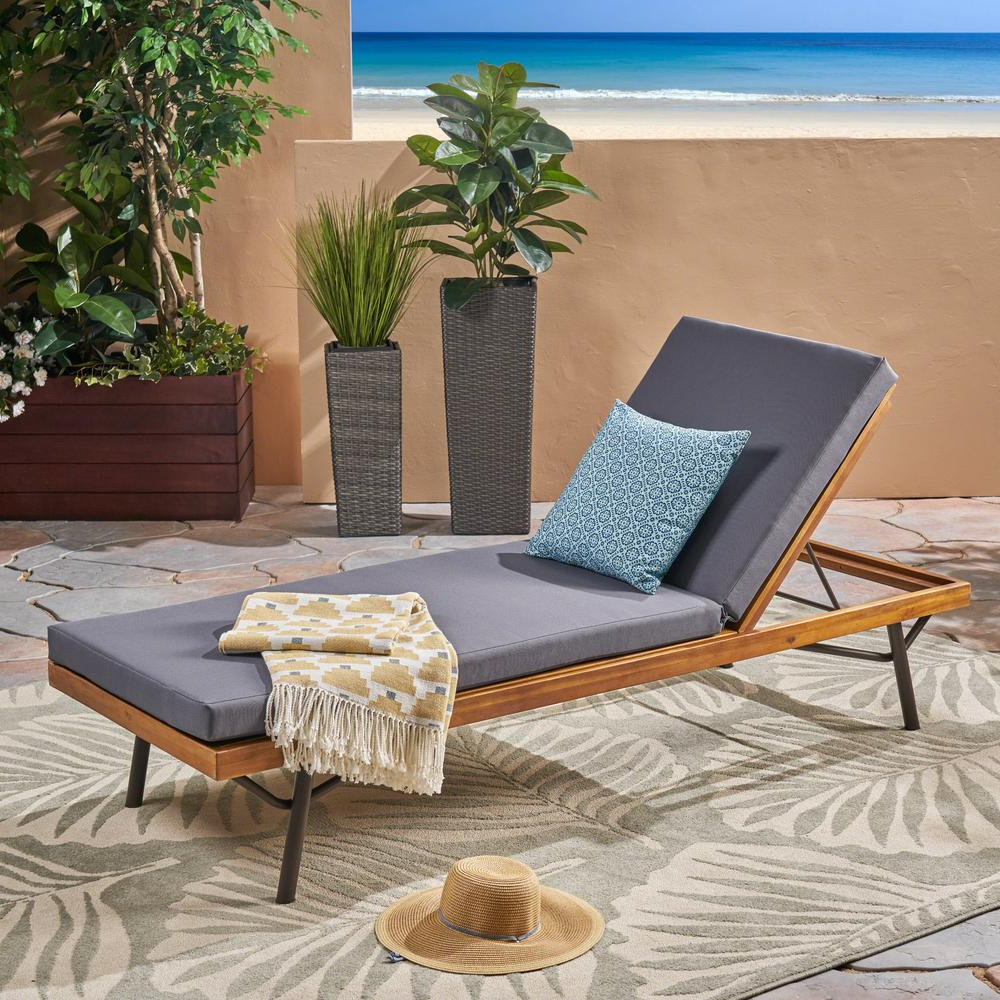 Noble House Canoga Teak Brown Wood Outdoor Chaise Lounge For Preferred Outdoor Rustic Acacia Wood Chaise Lounges With Wicker Seats (View 14 of 25)