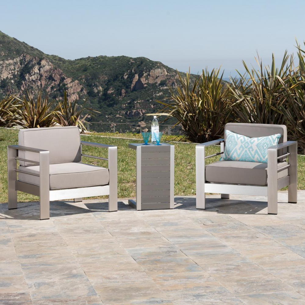 Noble House Cape Coral Sliver 3 Piece Aluminum Patio Conversation Set With Khaki Cushions Regarding Popular Cape Coral Outdoor Aluminum Chaise Lounges (View 22 of 25)