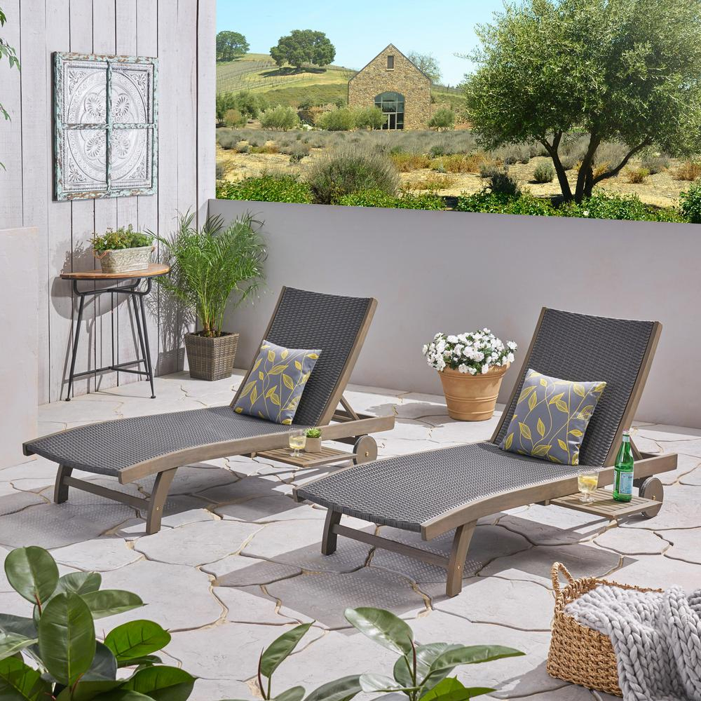 Noble House Colby Gray 2 Piece Acacia Wood Outdoor Chaise Lounge Throughout Trendy Outdoor Acacia Wood Chaise Lounges And Cushion Sets (View 10 of 25)