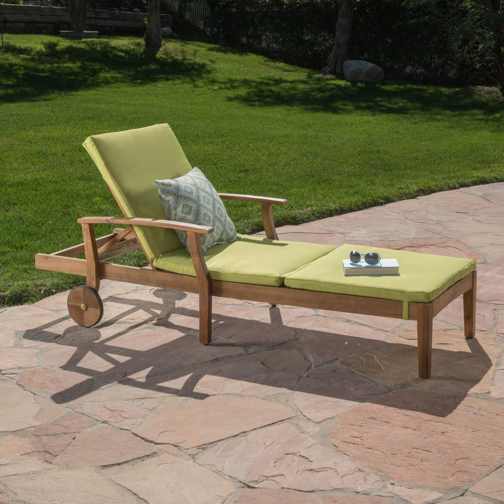 Noble House Giancarlo Teak Wood Outdoor Chaise Lounge With Green Cushion With Newest Outdoor Acacia Wood Chaise Lounges And Cushion Sets (View 12 of 25)