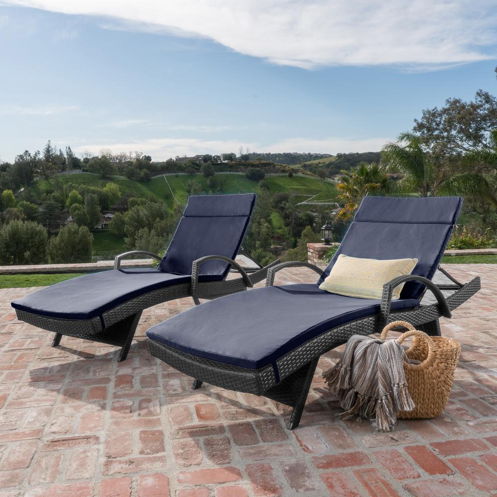 Noble House Gray 2 Piece Wicker Outdoor Chaise Lounge Set With Navy Blue Cushions With Regard To Well Known 2 Piece Outdoor Wicker Chaise Lounge Chairs (View 3 of 25)