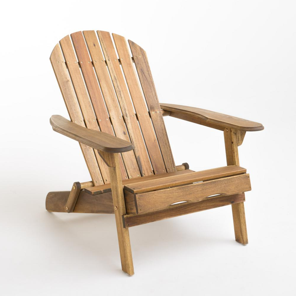 Noble House Hanlee Natural Stained Folding Wood Adirondack Chair Pertaining To Best And Newest Adirondack Chairs With Footrest (View 19 of 25)