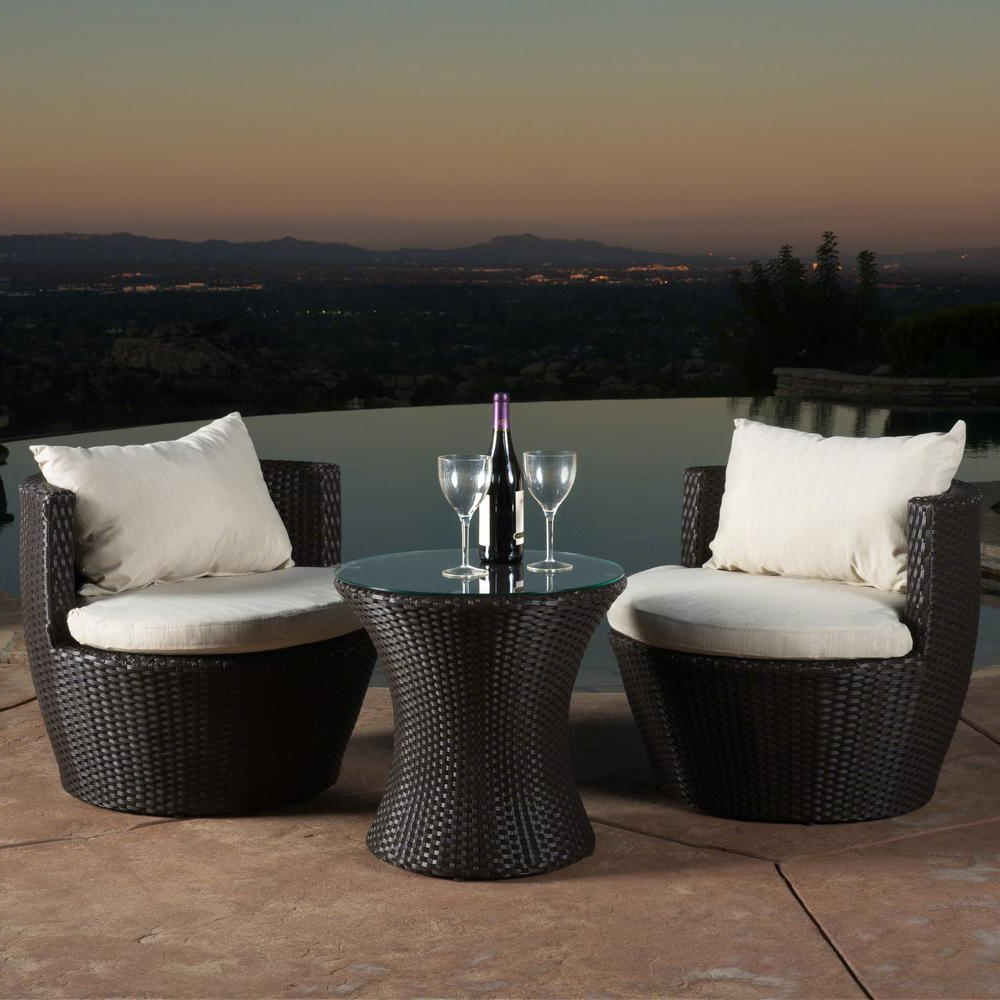 Noble House Kono Brown 3 Piece Wicker Patio Conversation Set With Beige  Cushions Within Fashionable 3 Piece Patio Lounger Sets (View 18 of 25)
