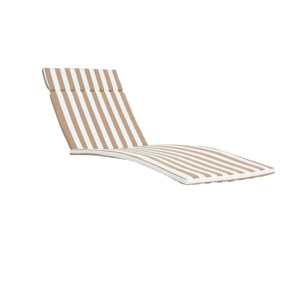 Noble House Miller Brown And White Stripes Outdoor Chaise Pertaining To Favorite Striped Outdoor Chaises With Umbrella (View 20 of 25)