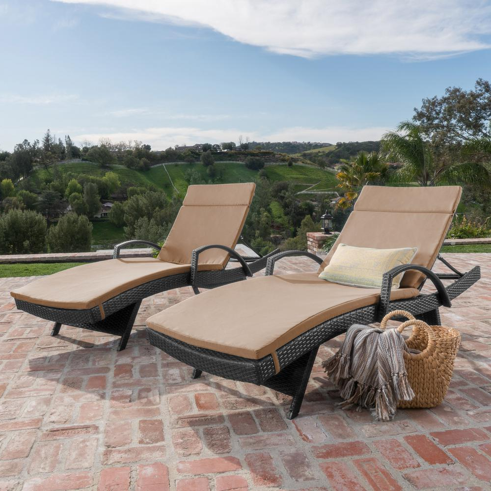 Noble House Miller Grey 2 Piece Wicker Outdoor Chaise Lounge Set With Caramel Cushions And Armrest With Regard To Most Popular 2 Piece Outdoor Wicker Chaise Lounge Chairs (View 14 of 25)