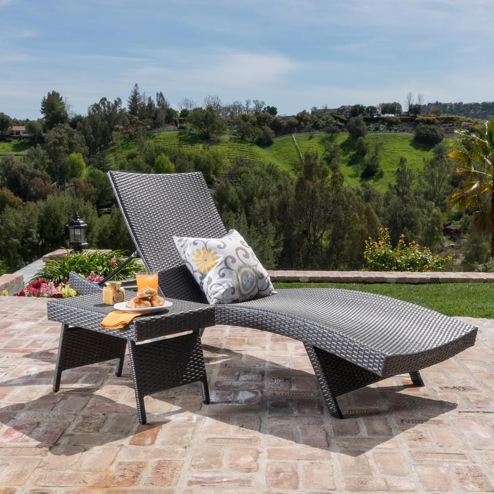 Noble House Miller Grey Armless 2 Piece Wicker Outdoor Pertaining To Well Liked 2 Piece Outdoor Wicker Chaise Lounge Chairs (View 12 of 25)
