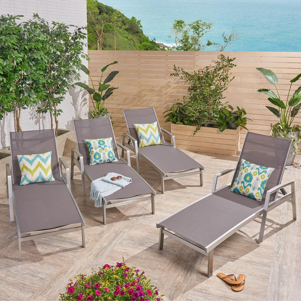 Noble House Oxton Silver Aluminum Adjustable Outdoor Chaise Lounge (4 Pack) With Best And Newest Cape Coral Outdoor Chaise Lounges With Cushion (View 11 of 25)