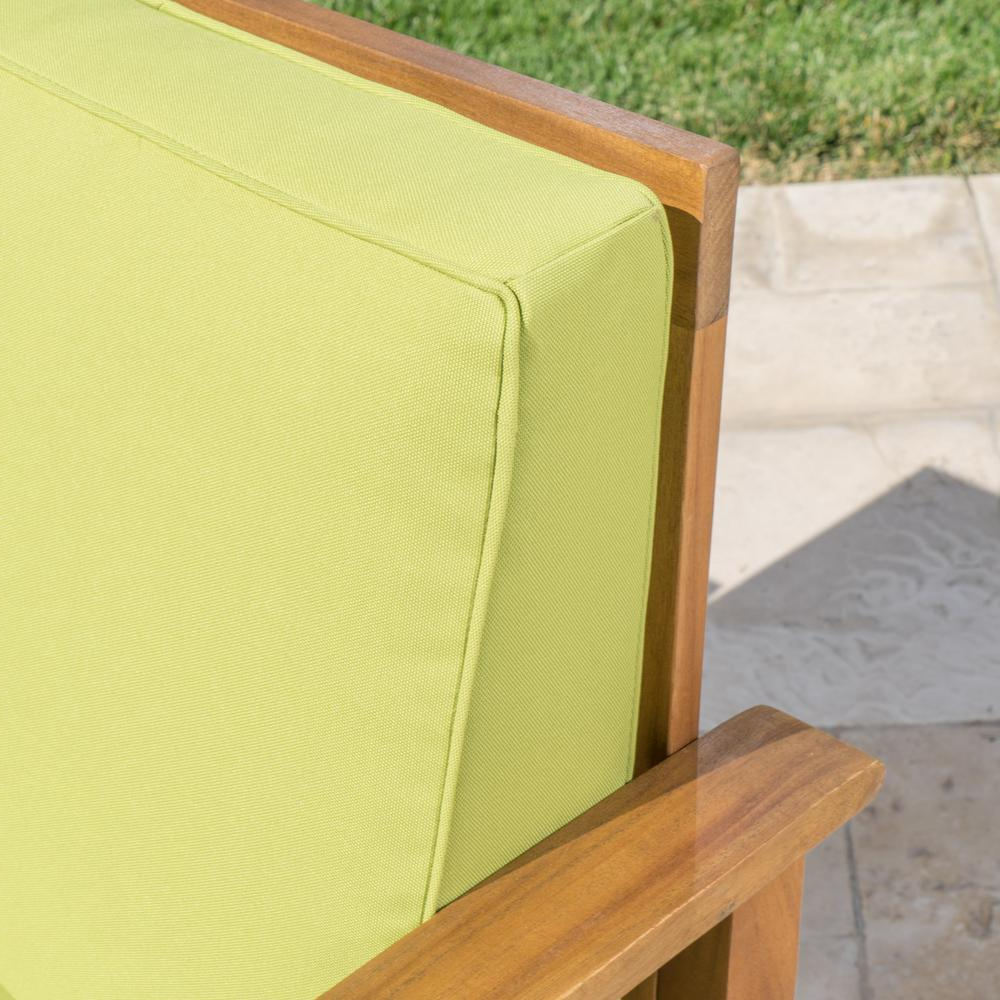 Noble House Perla Teak Finish Wood Outdoor Club Lounge Chairs With Green Cushions (2 Pack) Throughout Latest Perla Outdoor Acacia Wood Chaise Lounge With Cushion (Gallery 24 of 25)