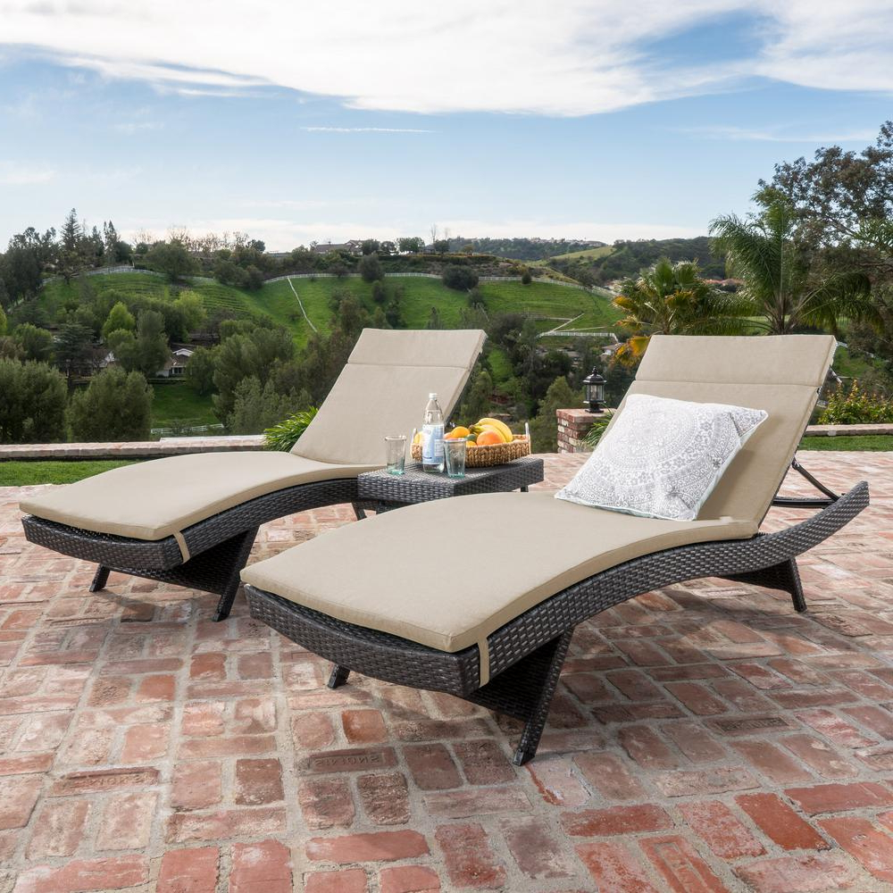 Noble House Salem Gray 3 Piece Wicker Outdoor Chaise Lounge And Side Table Set With Beige Cushions For Well Known Outdoor 3 Piece Wicker Chaise Lounges And Table Sets (View 4 of 25)
