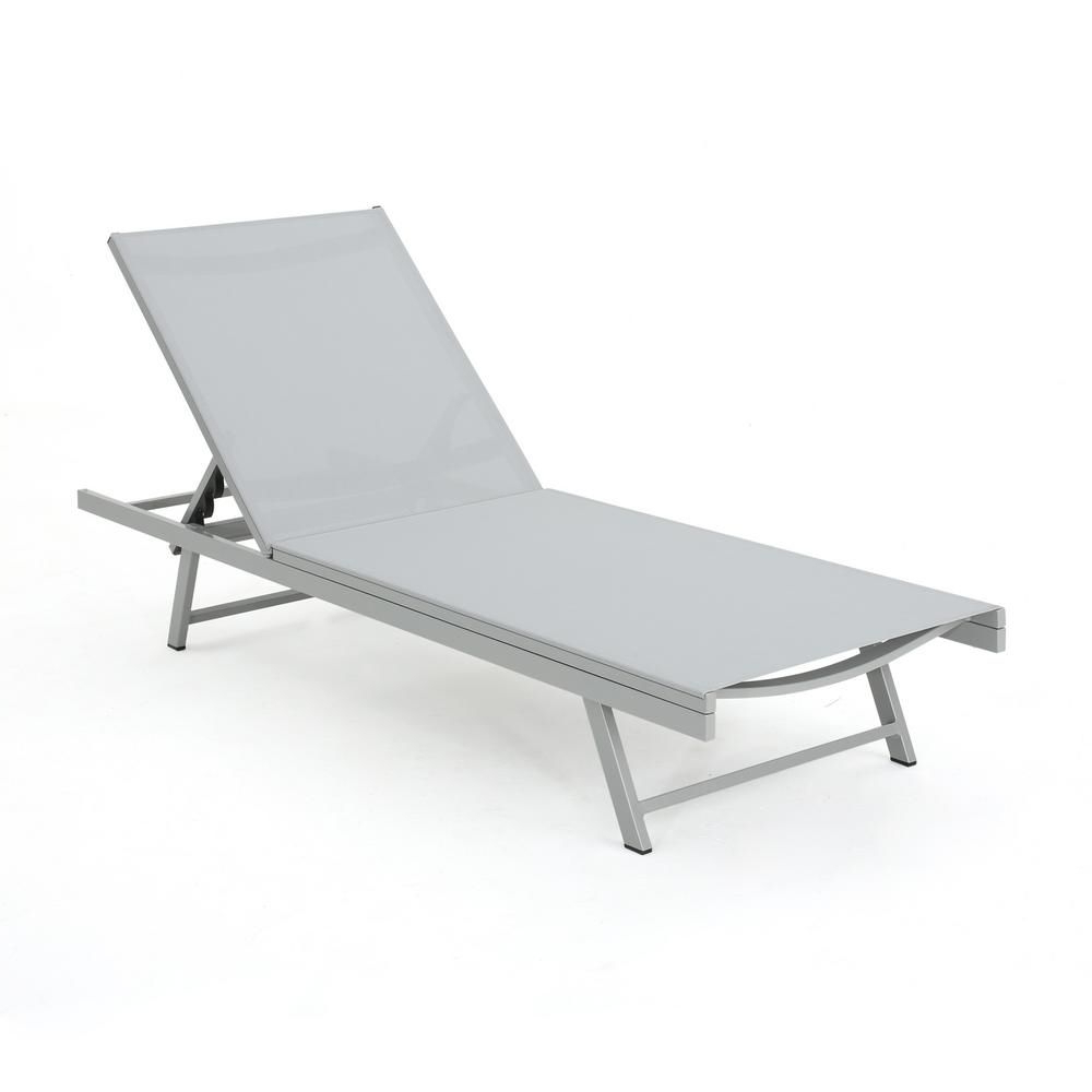 Noble House Salton Gray Metal Adjustable Outdoor Chaise Regarding Most Recent Glimpse Outdoor Patio Mesh Chaise Lounge Chairs (View 10 of 25)