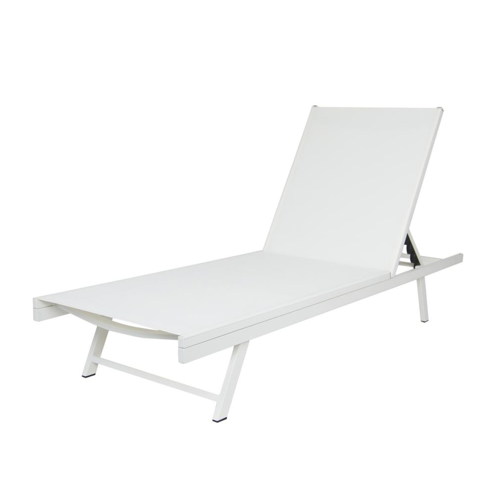 Noble House Salton White Metal Adjustable Outdoor Chaise Lounge Within Preferred Salton Outdoor Aluminum Chaise Lounges (View 6 of 25)