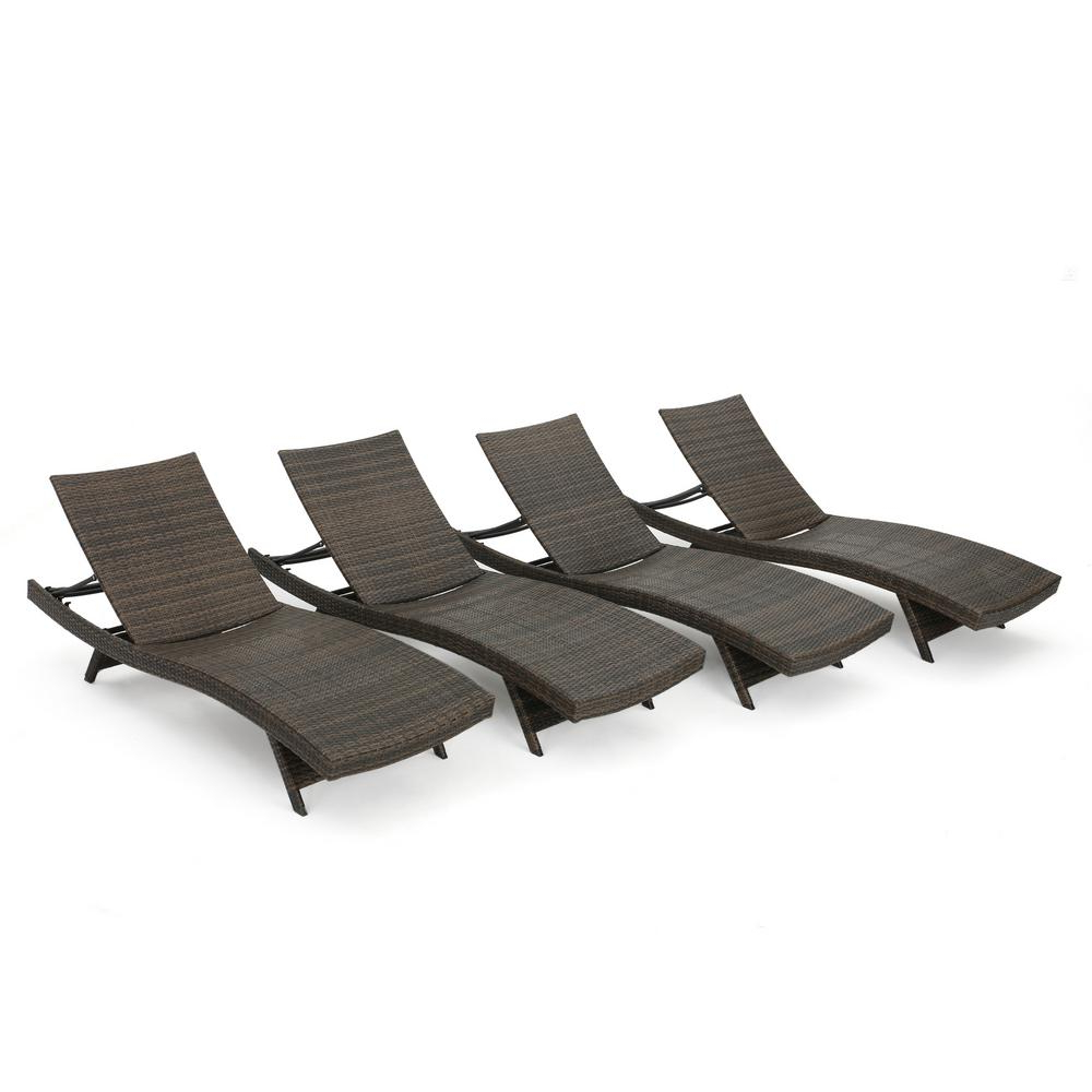 Noble House Thira Mixed Mocha 4 Piece Wicker Adjustable Throughout Most Current White Wicker Adjustable Chaise Loungers With Cushions (View 12 of 25)