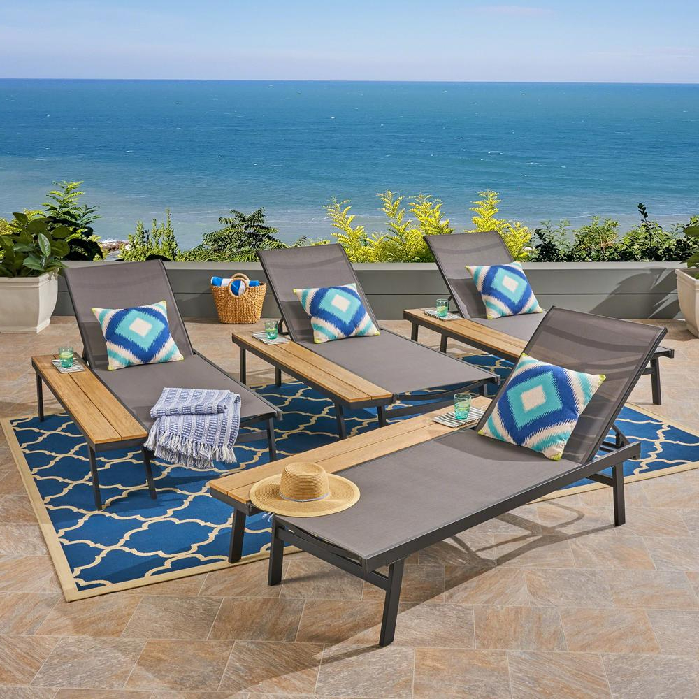 Noble House Waterloo Black Aluminum Adjustable Outdoor Chaise Lounge With Side Table (4 Pack) Inside Newest Myers Outdoor Aluminum Mesh Chaise Lounges (View 25 of 25)