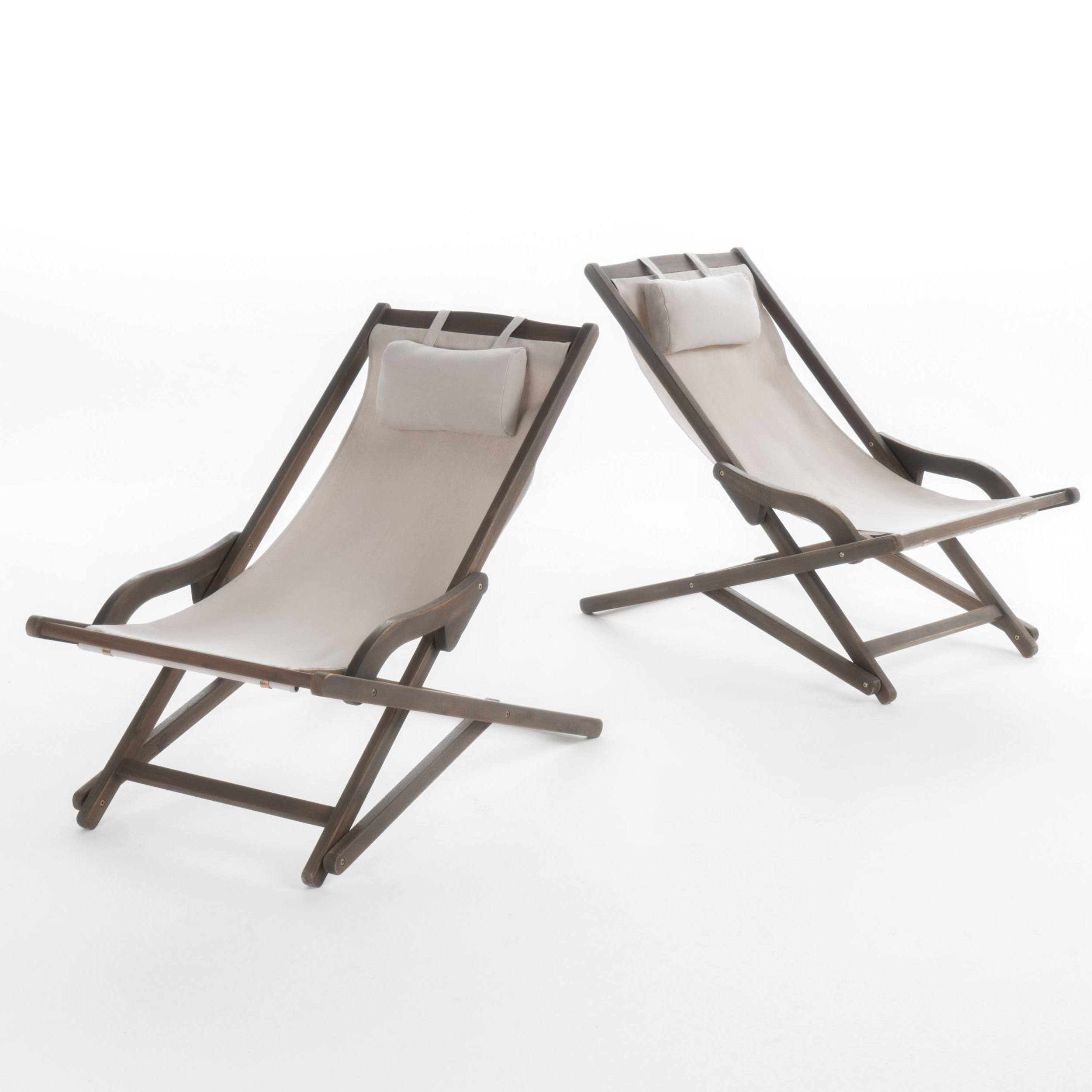 Northland Outdoor Wood And Canvas Sling Chair, Set Of 2, Beige Throughout Famous Outdoor Wood Sling Chairs (View 10 of 25)