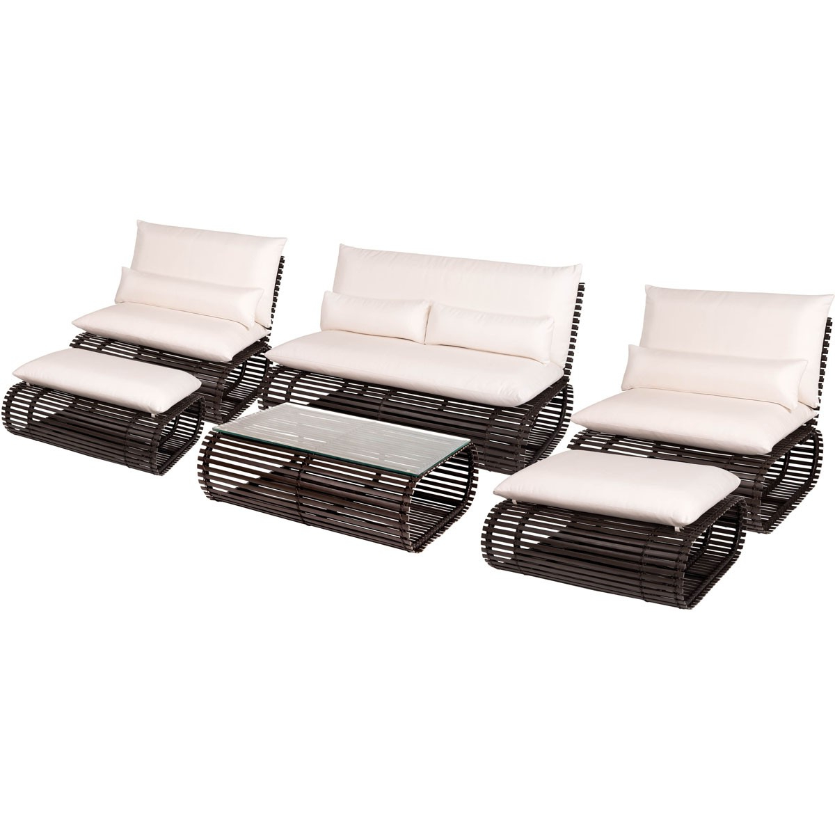 Novel 6 Piece Outdoor Seating Set Intended For 2019 Outdoor Patio Lounge Chairs With Ottoman (Gallery 12 of 25)