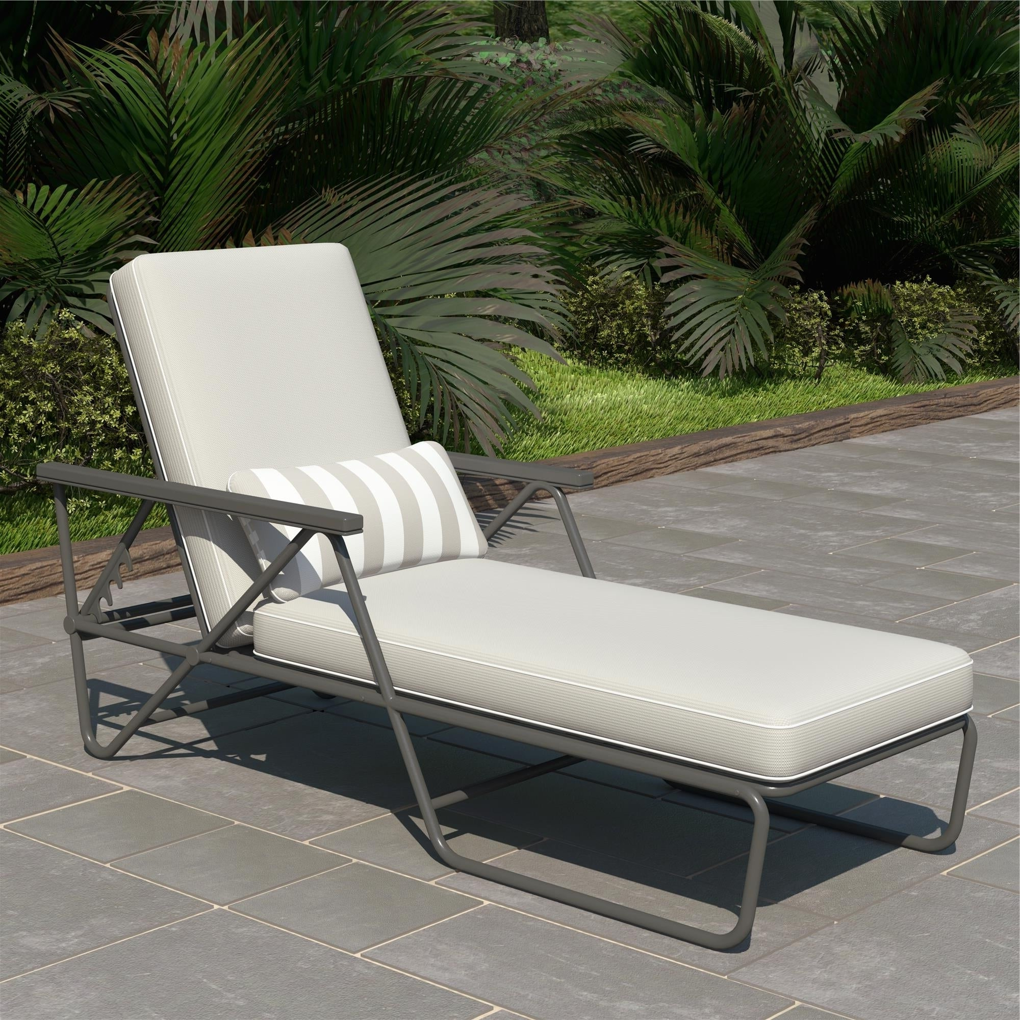 Novogratz Poolside Collection Connie Outdoor Chaise Lounge Inside 2020 Striped Outdoor Chaises With Umbrella (View 11 of 25)
