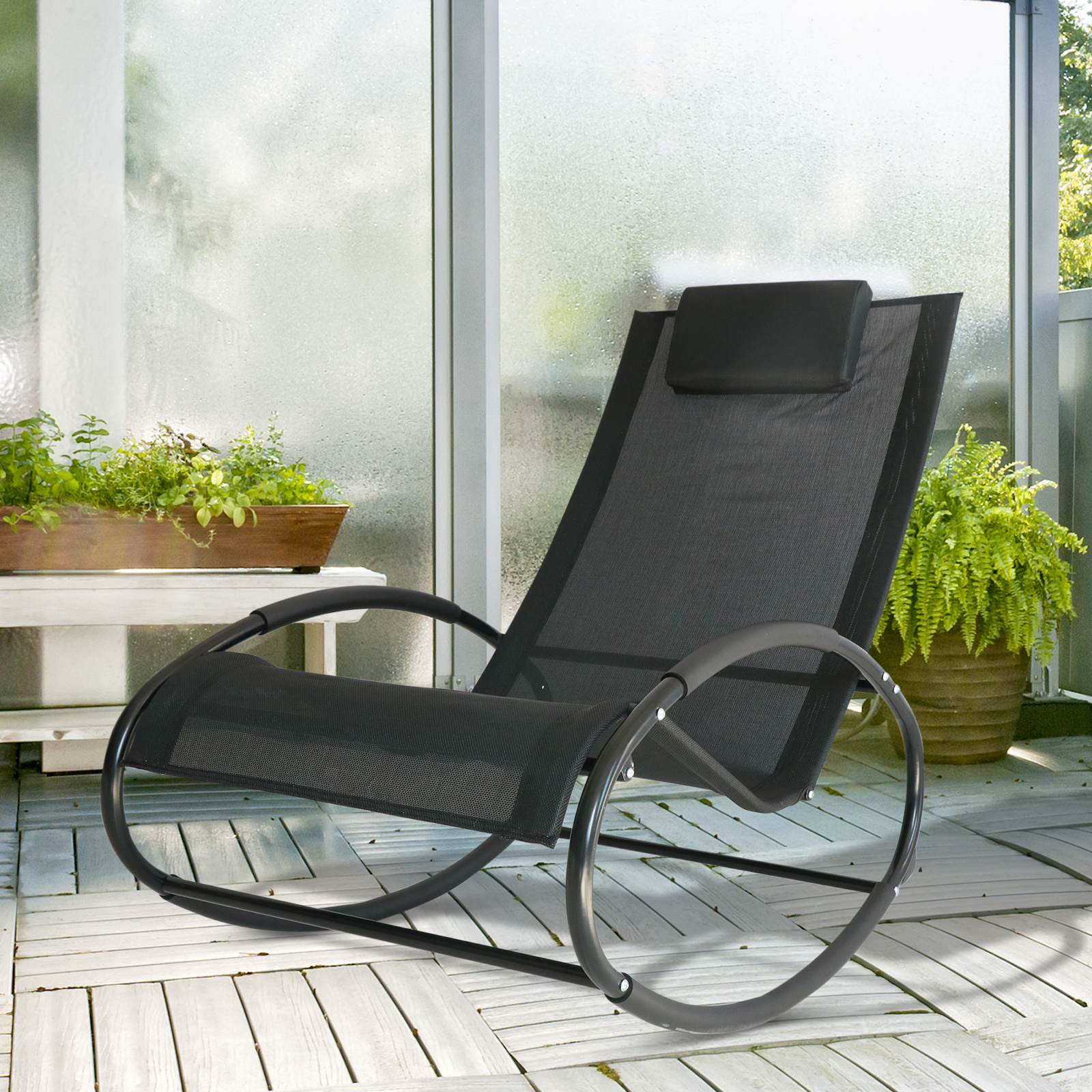 Orbital Patio Lounger Rocking Chairs For 2019 Details About Outsunny Patio Rocking Lounge Chair Orbital Zero Gravity Seat  Pool Chaise W/ (View 11 of 25)